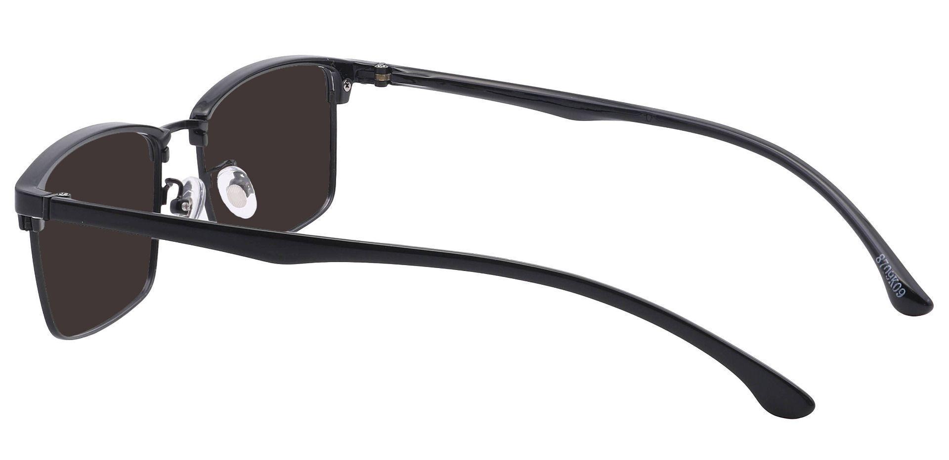 Young Browline Prescription Sunglasses - Black Frame With Gray Lenses