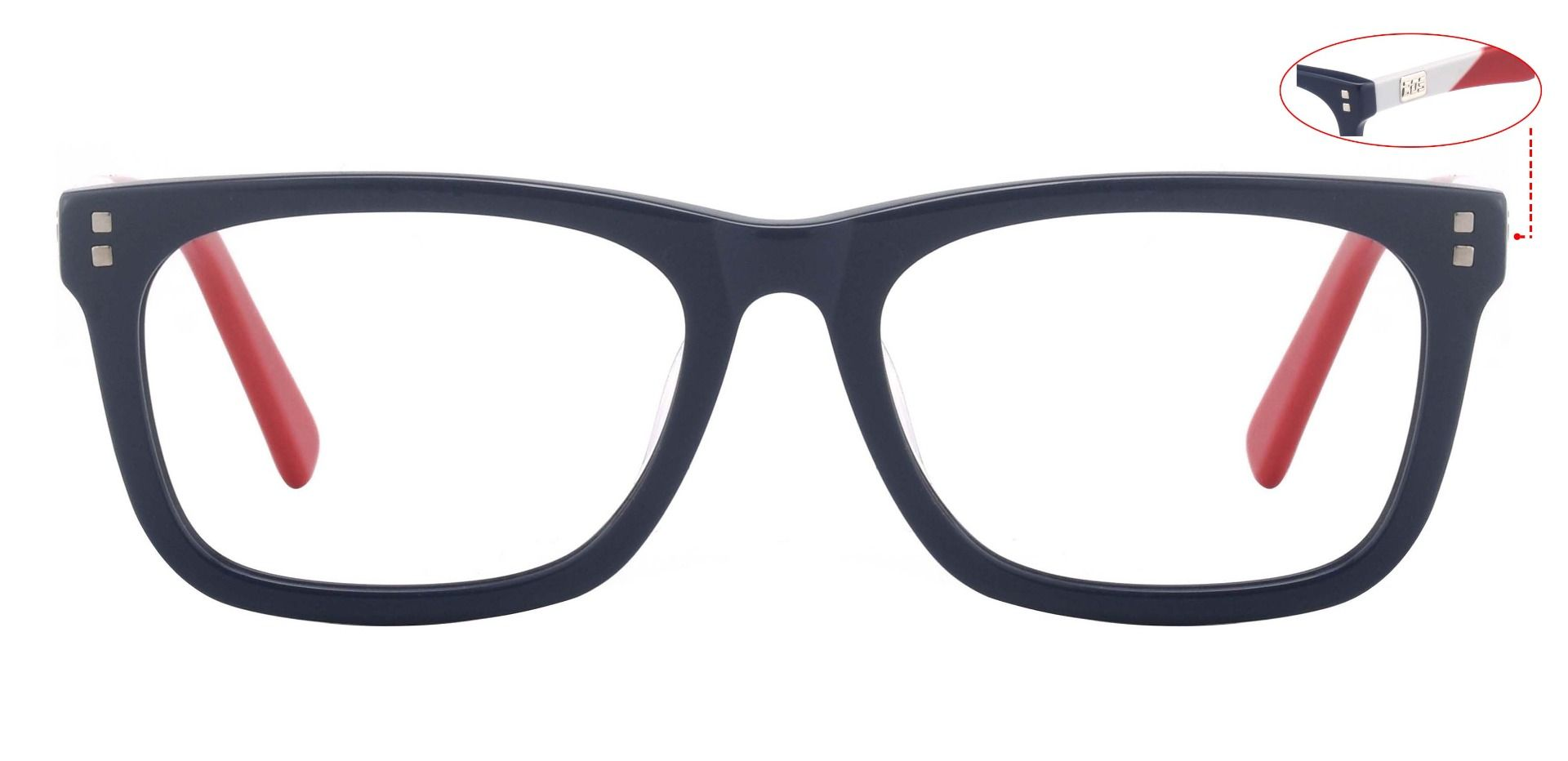 Harbor Rectangle Lined Bifocal Glasses - The Frame Is Blue And Red