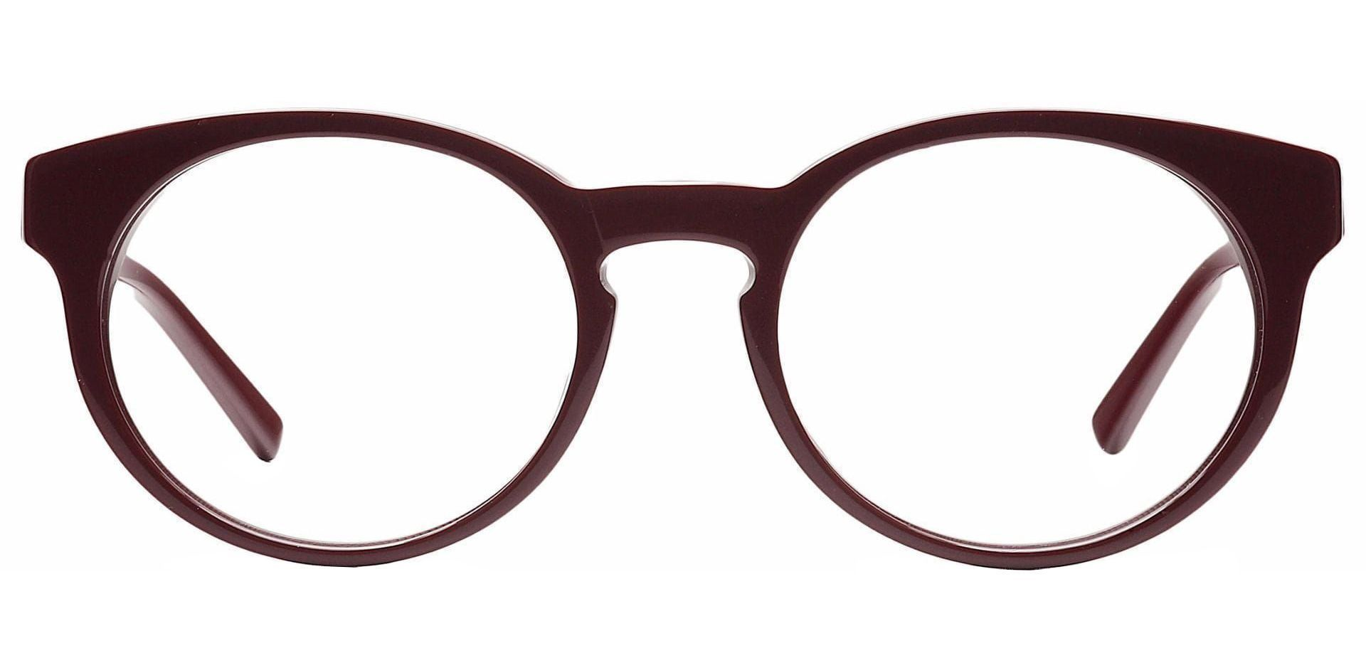 Hip Round Eyeglasses Frame - Wine