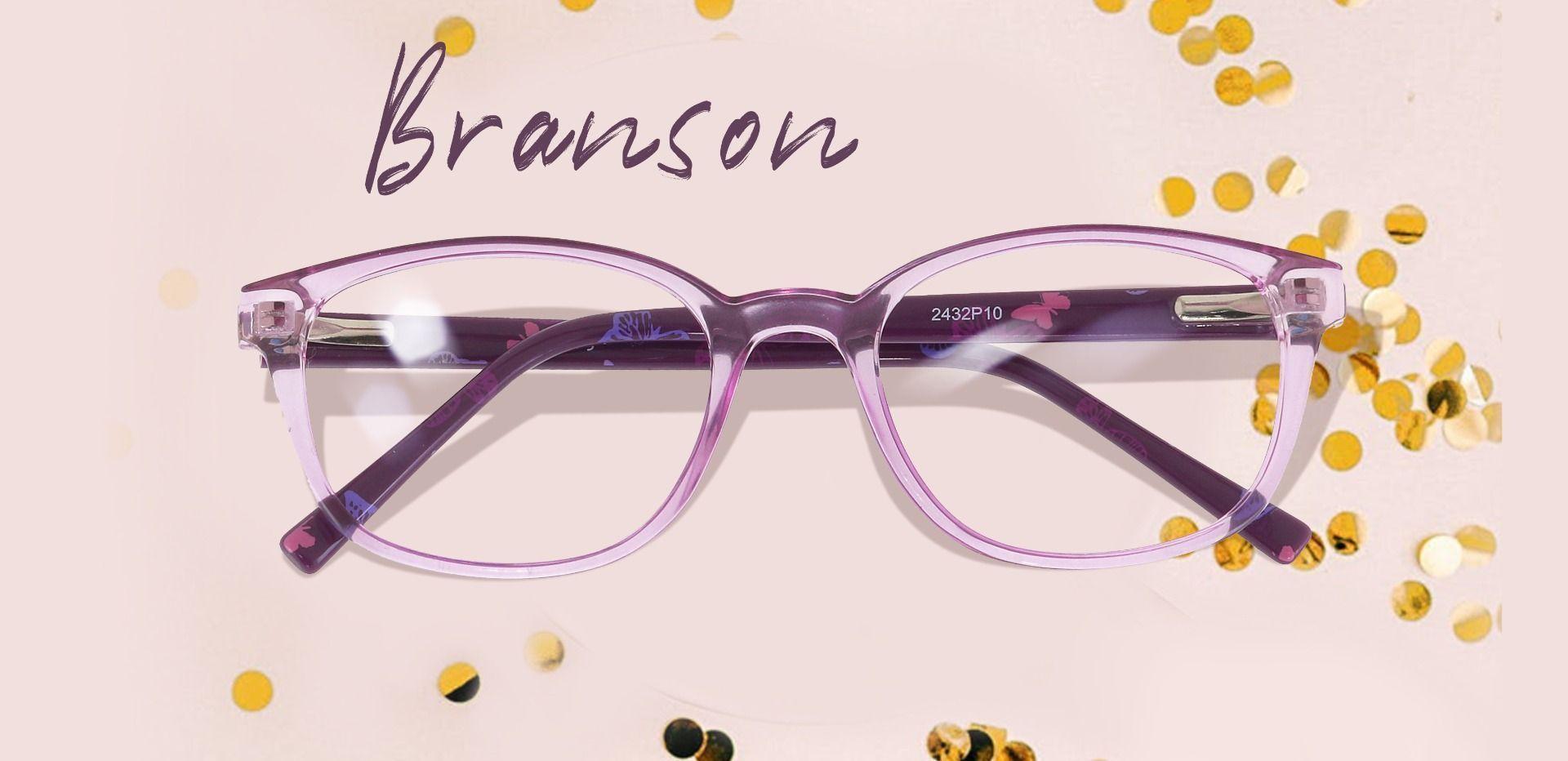 Branson Rectangle Prescription Glasses - Purple
