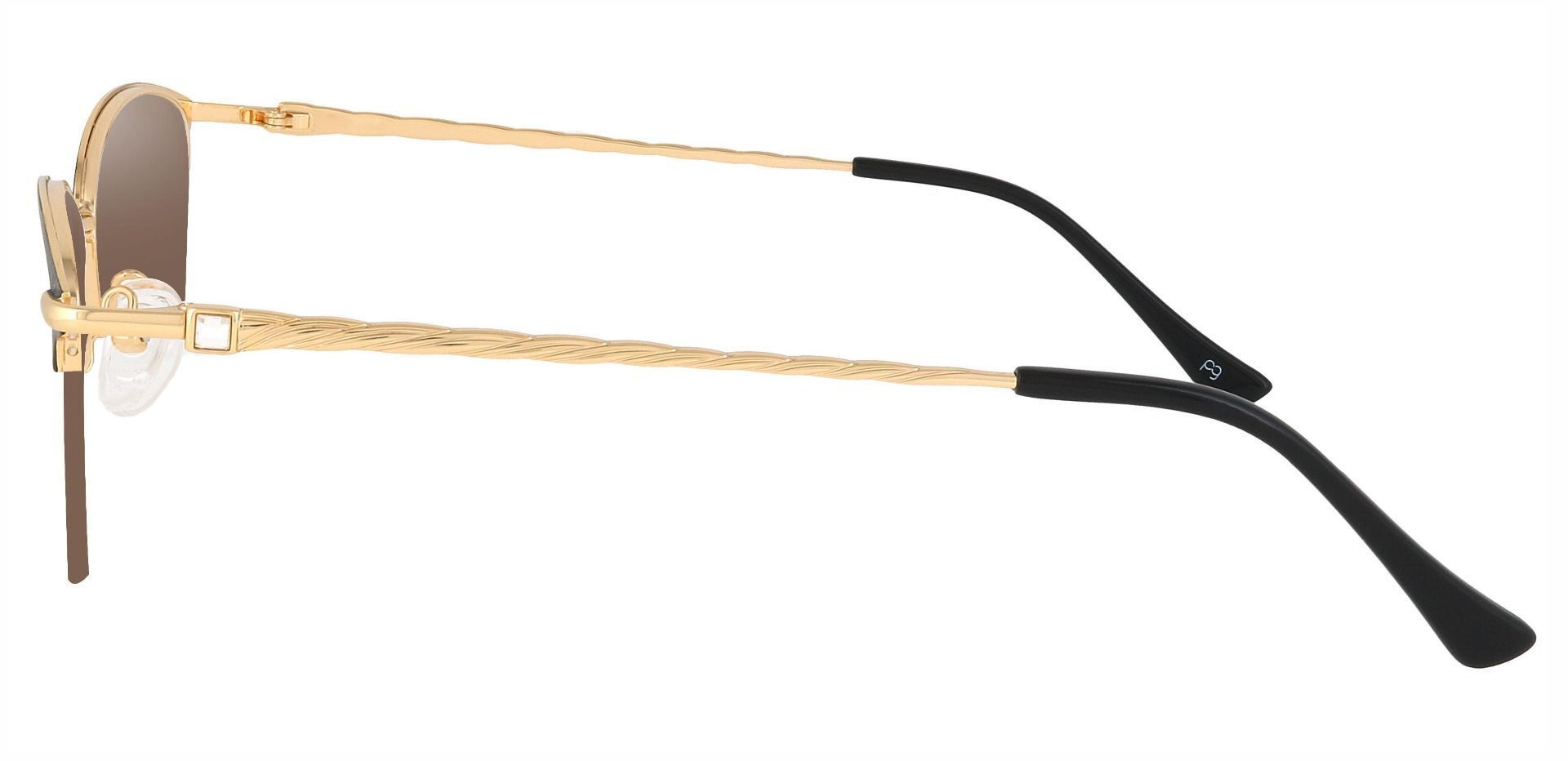 Marigold Rectangle Non-Rx Sunglasses - Black Frame With Brown Lenses