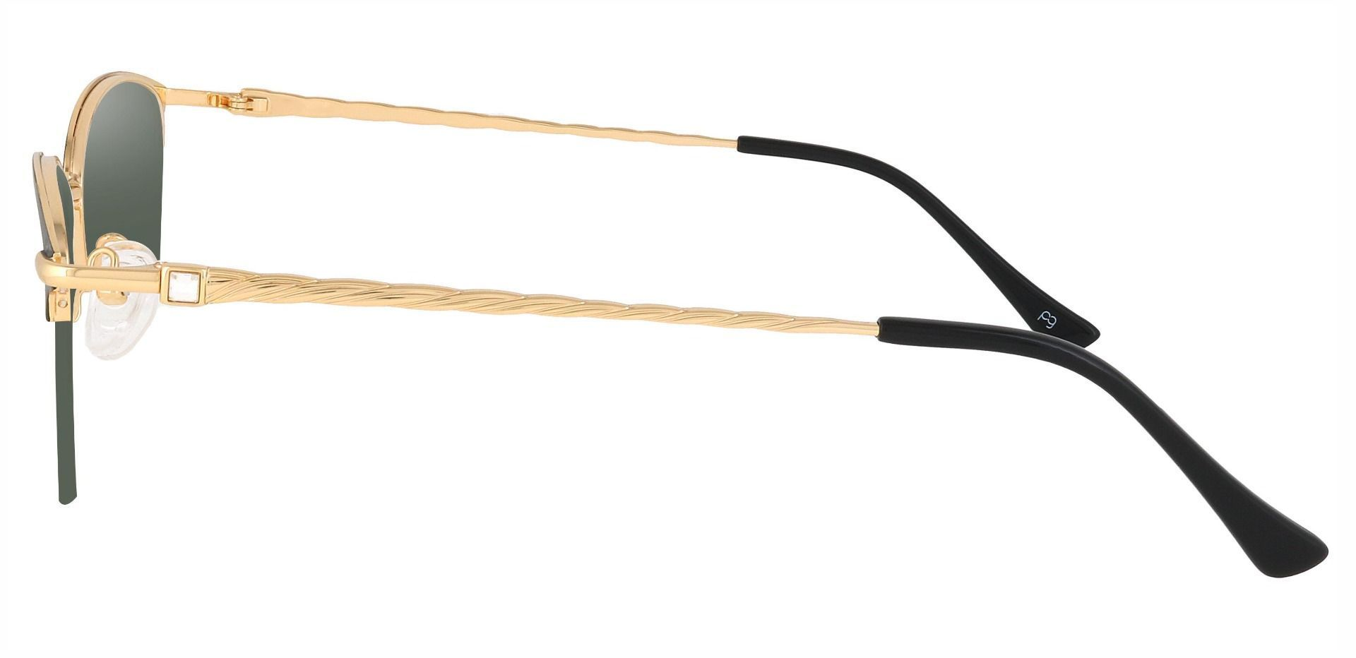 Marigold Rectangle Progressive Sunglasses - Black Frame With Green Lenses