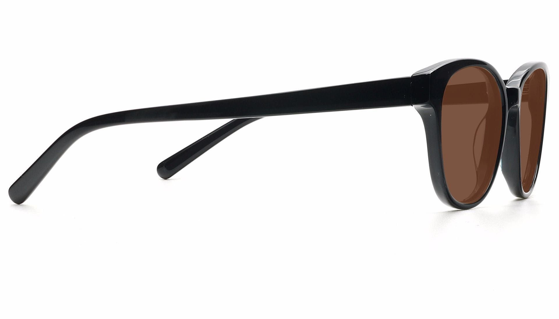 Elan Classic Square Non-Rx Sunglasses - Black Frame With Brown Lenses