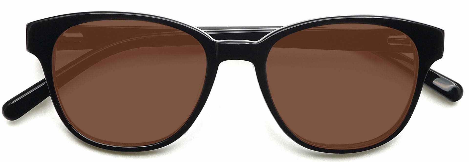 Elan Classic Square Reading Sunglasses - Black Frame With Brown Lenses