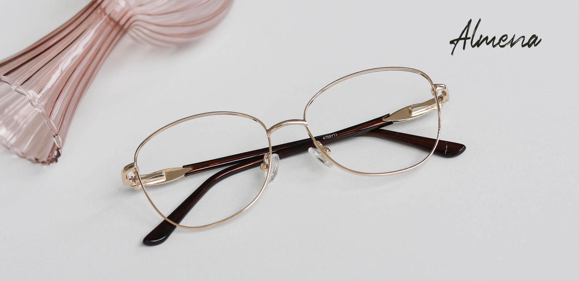 Almena Oval Prescription Glasses - Gold