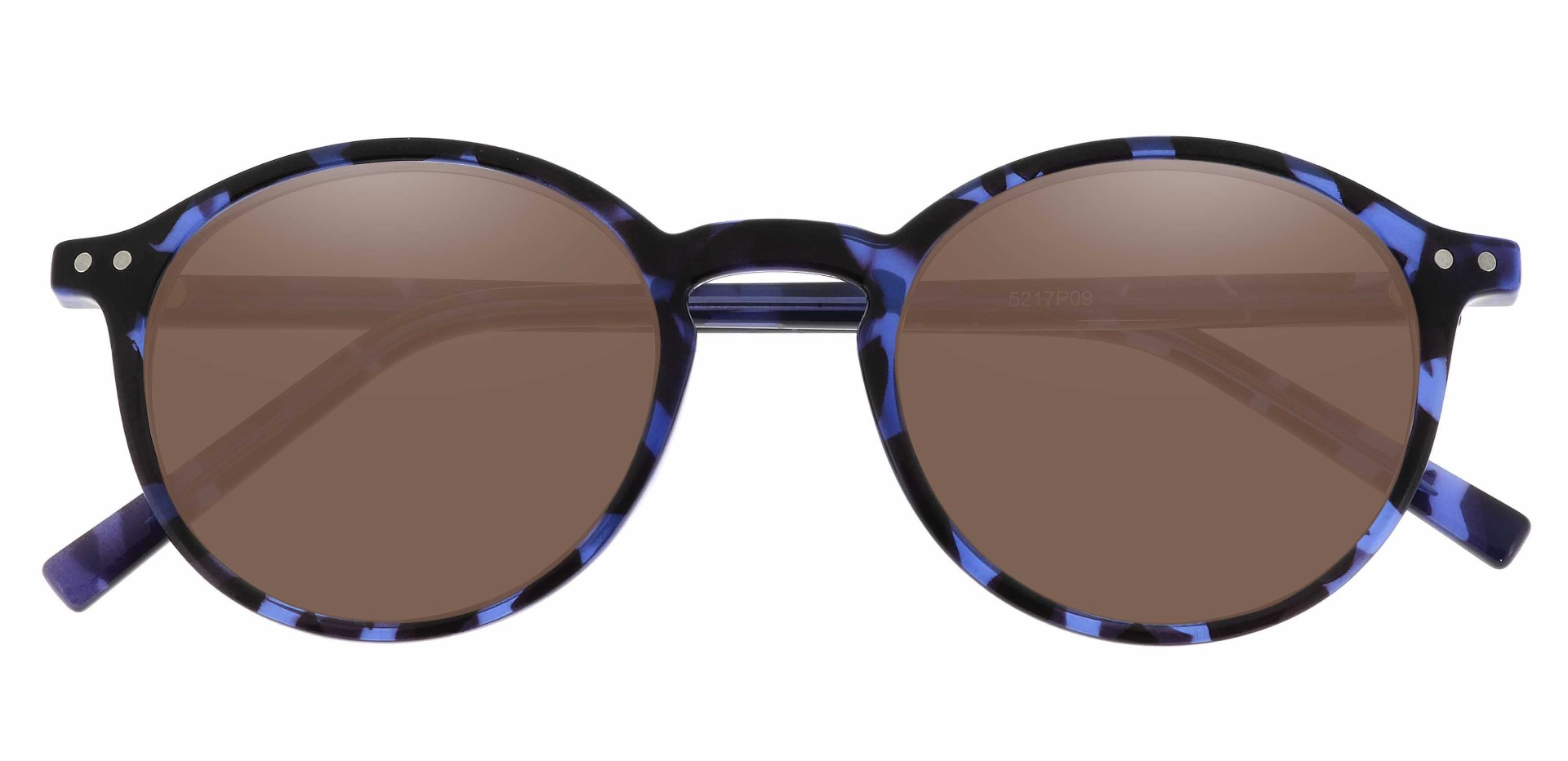Harvard Round Prescription Sunglasses - Blue Frame With Brown Lenses