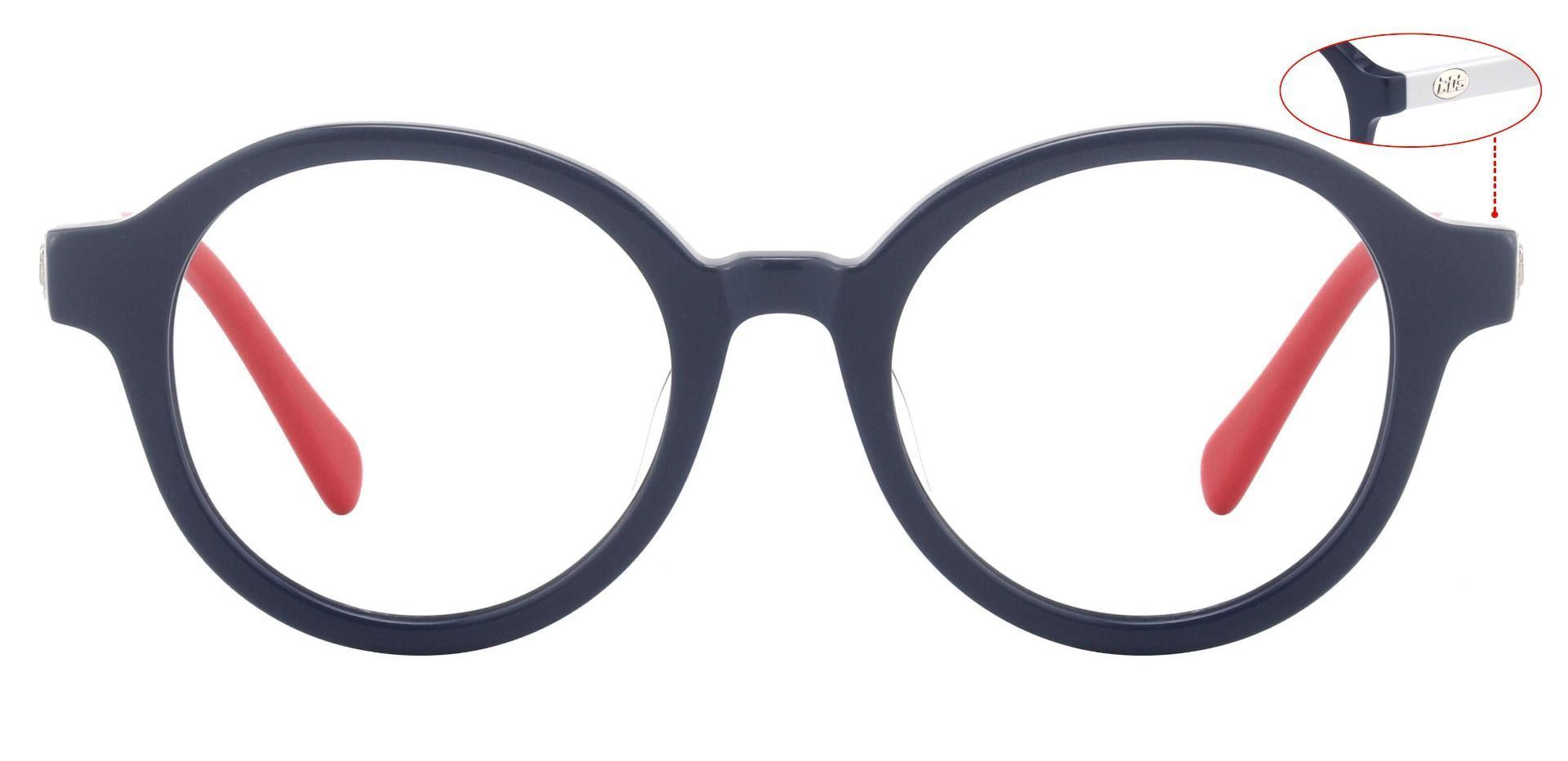 Dudley Round Eyeglasses Frame - The Frame Is Blue And Yellow