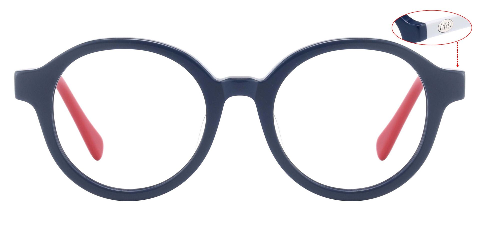 Roxbury Round Eyeglasses Frame - The Frame Is Blue And Red