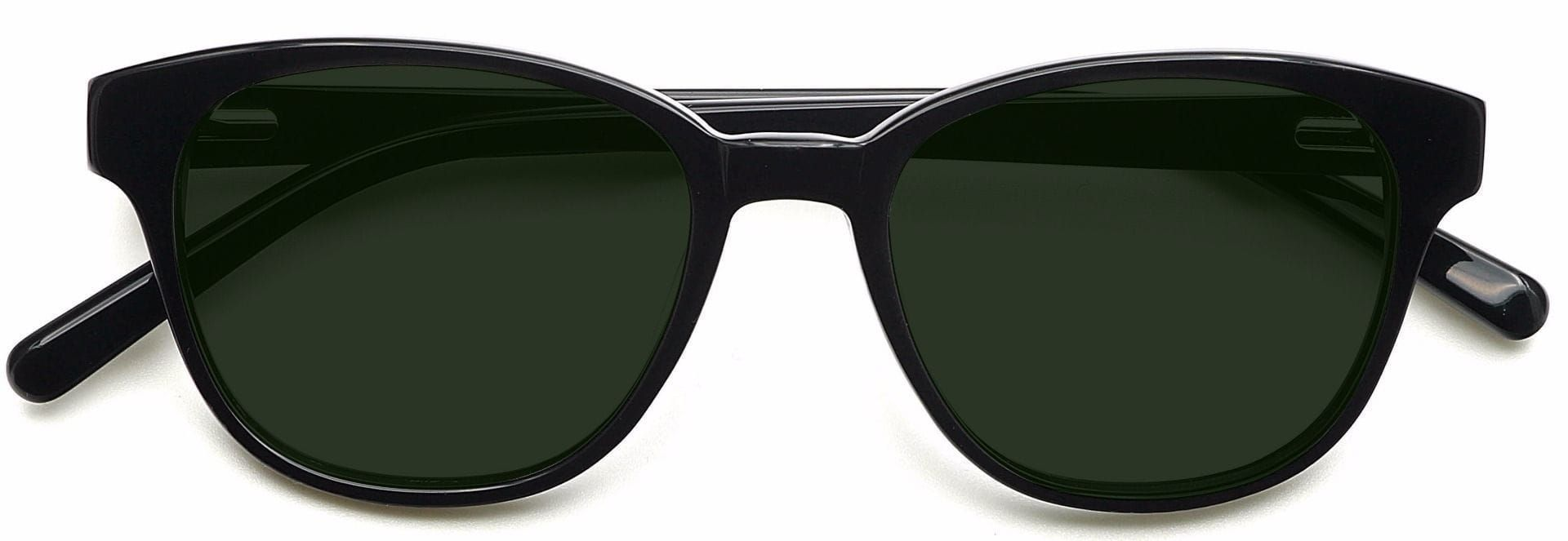 Elan Classic Square Lined Bifocal Sunglasses - Black Frame With Green Lenses