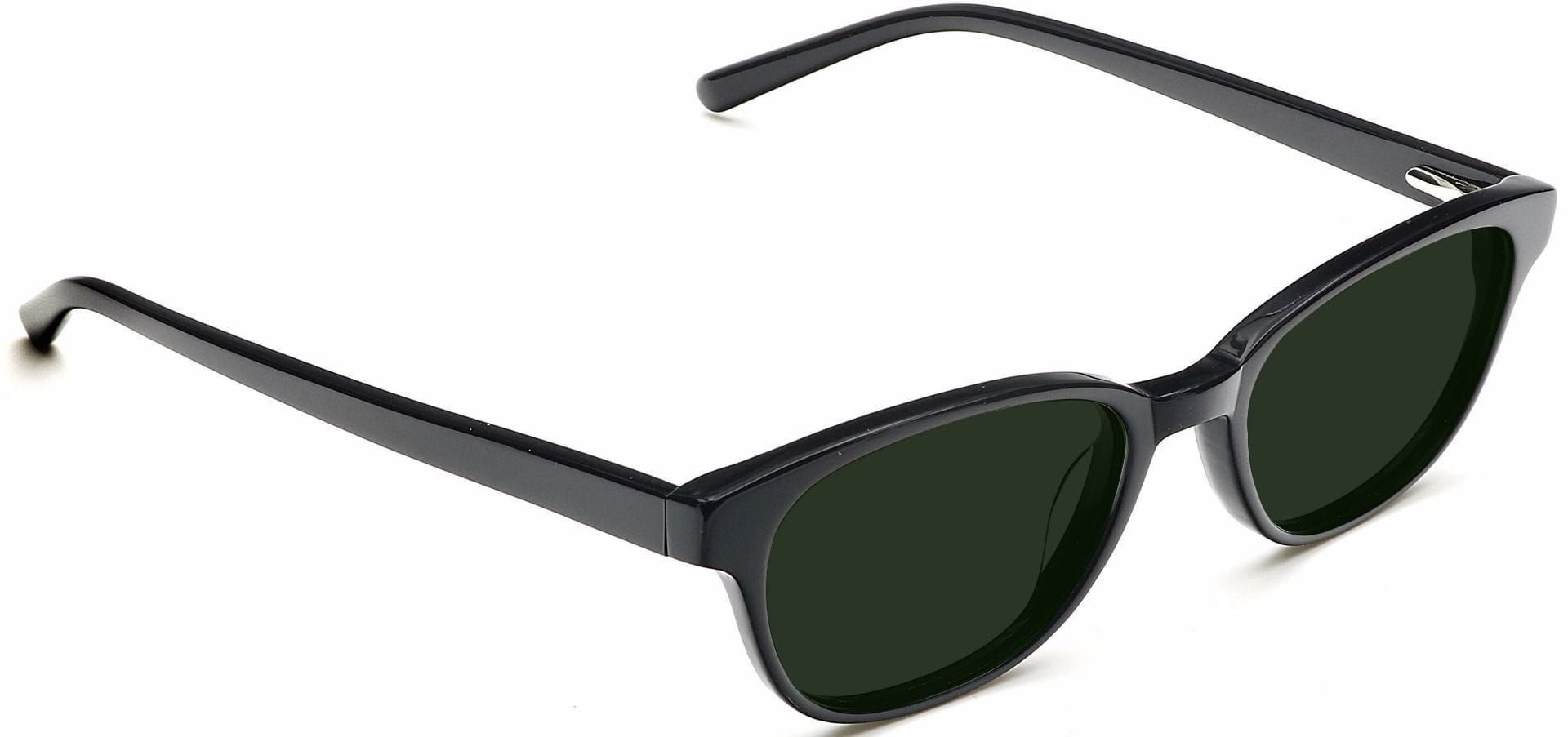 Elan Classic Square Reading Sunglasses - Black Frame With Green Lenses