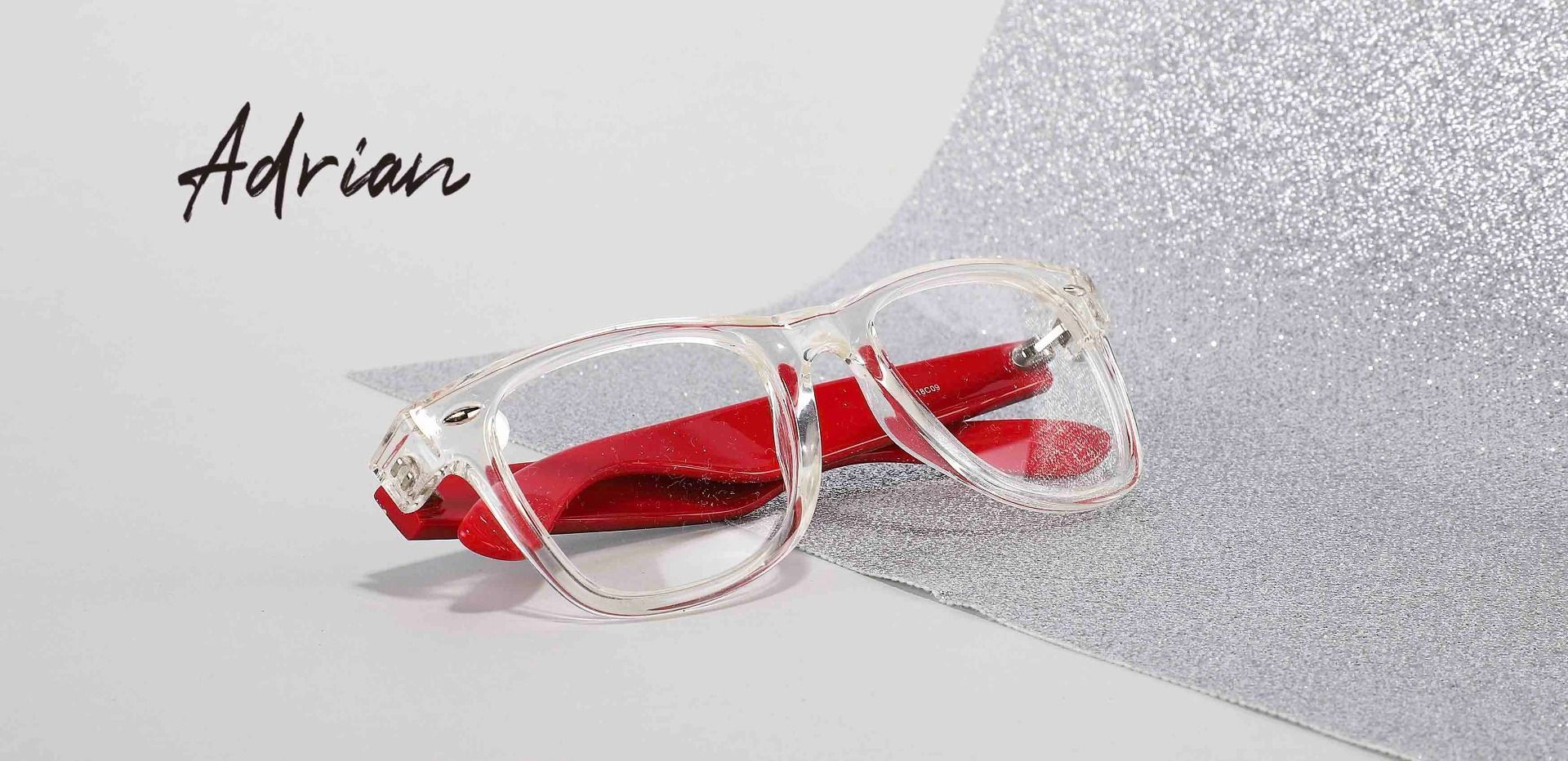 Adrian Square Eyeglasses Frame - The Frame Is Clear And Red