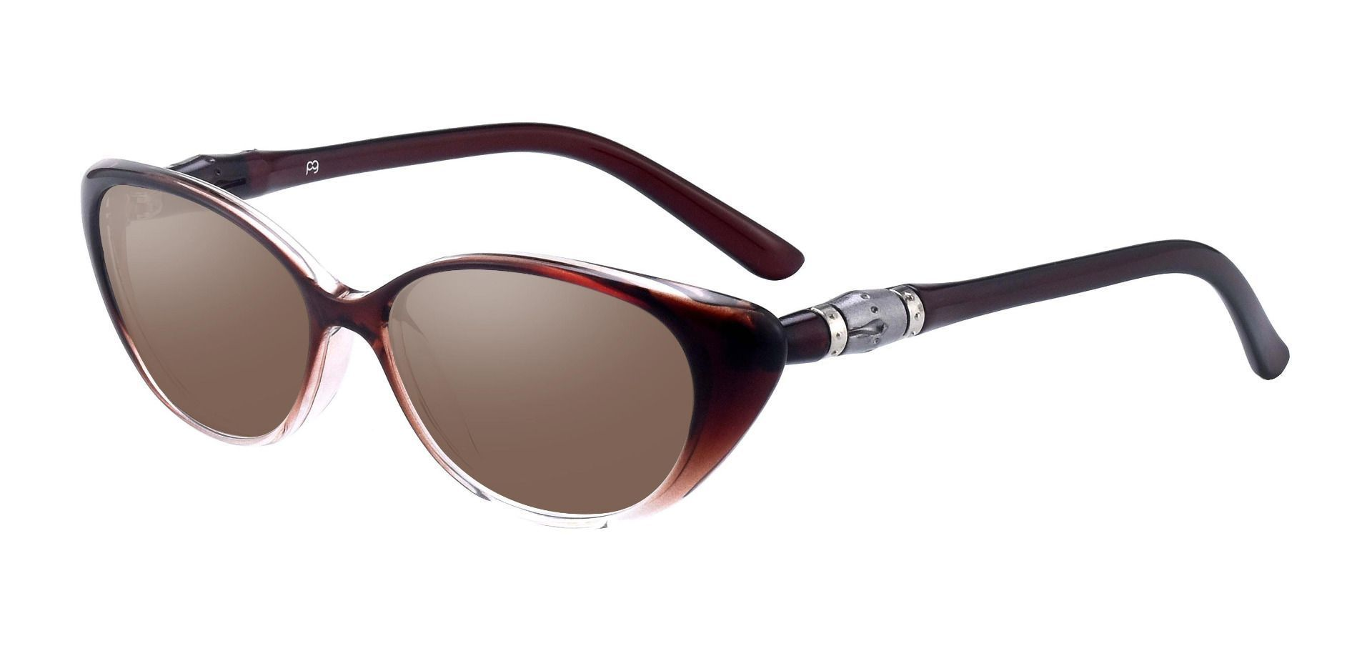 Josie Cat Eye Single Vision Sunglasses - Brown Frame With Brown Lenses