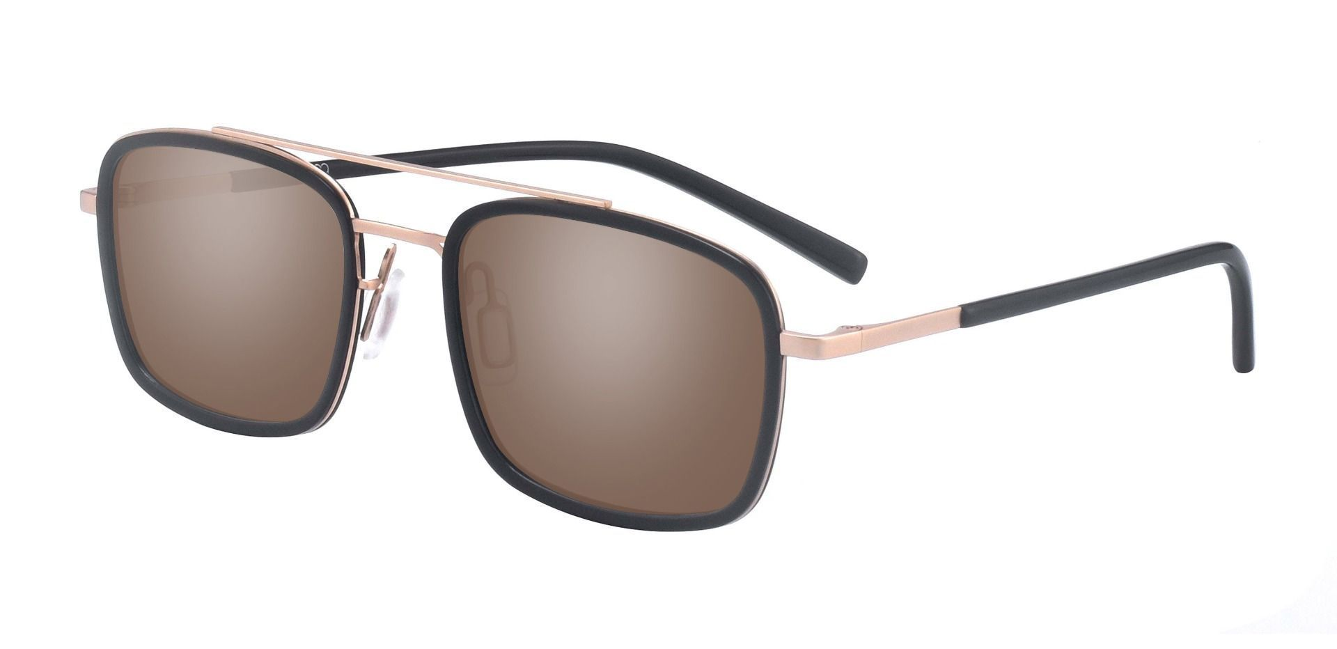 Margot  Aviator Prescription Sunglasses - Black Frame With Brown Lenses