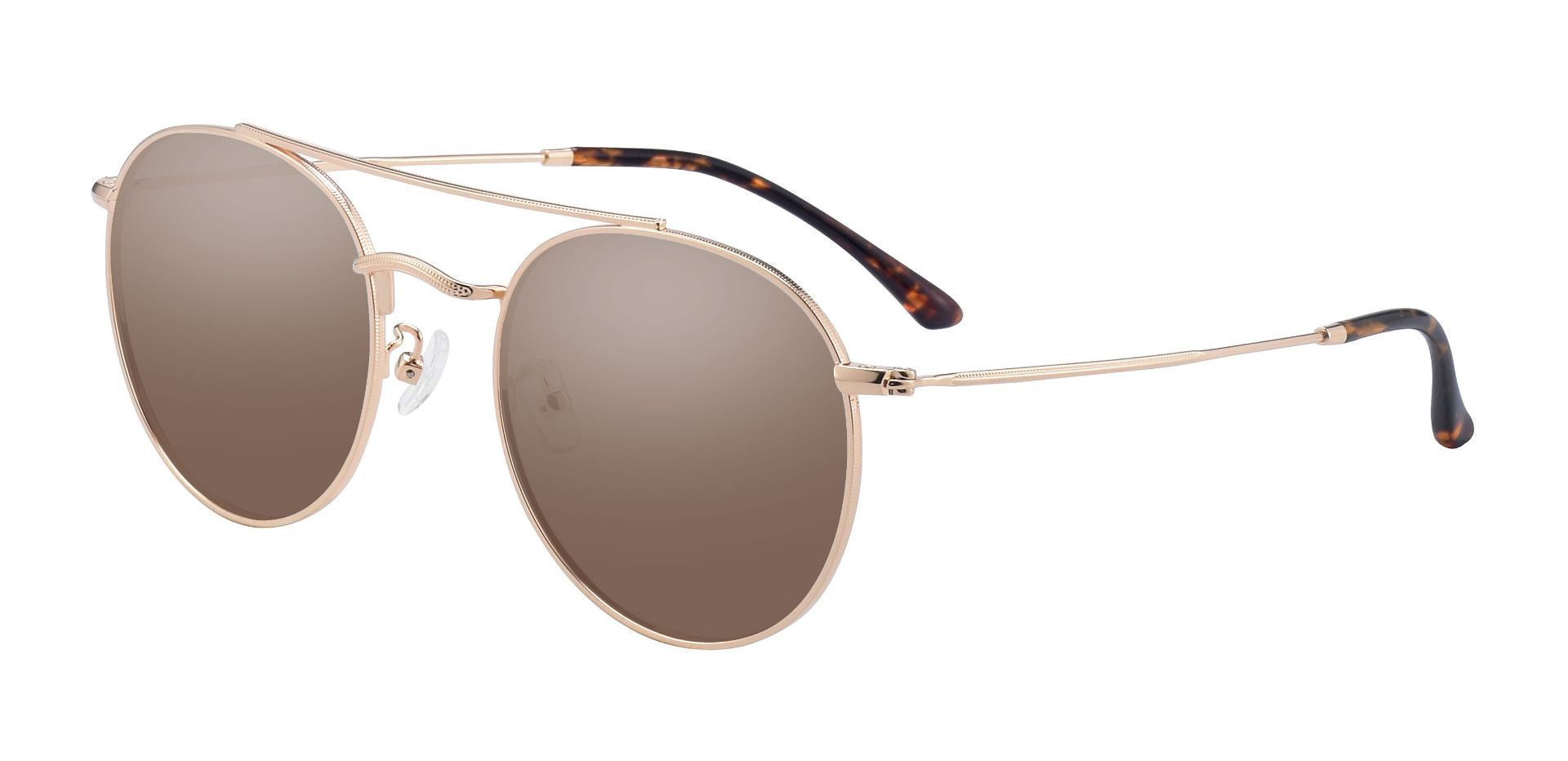 Malik Aviator Prescription Sunglasses - Gold Frame With Brown Lenses