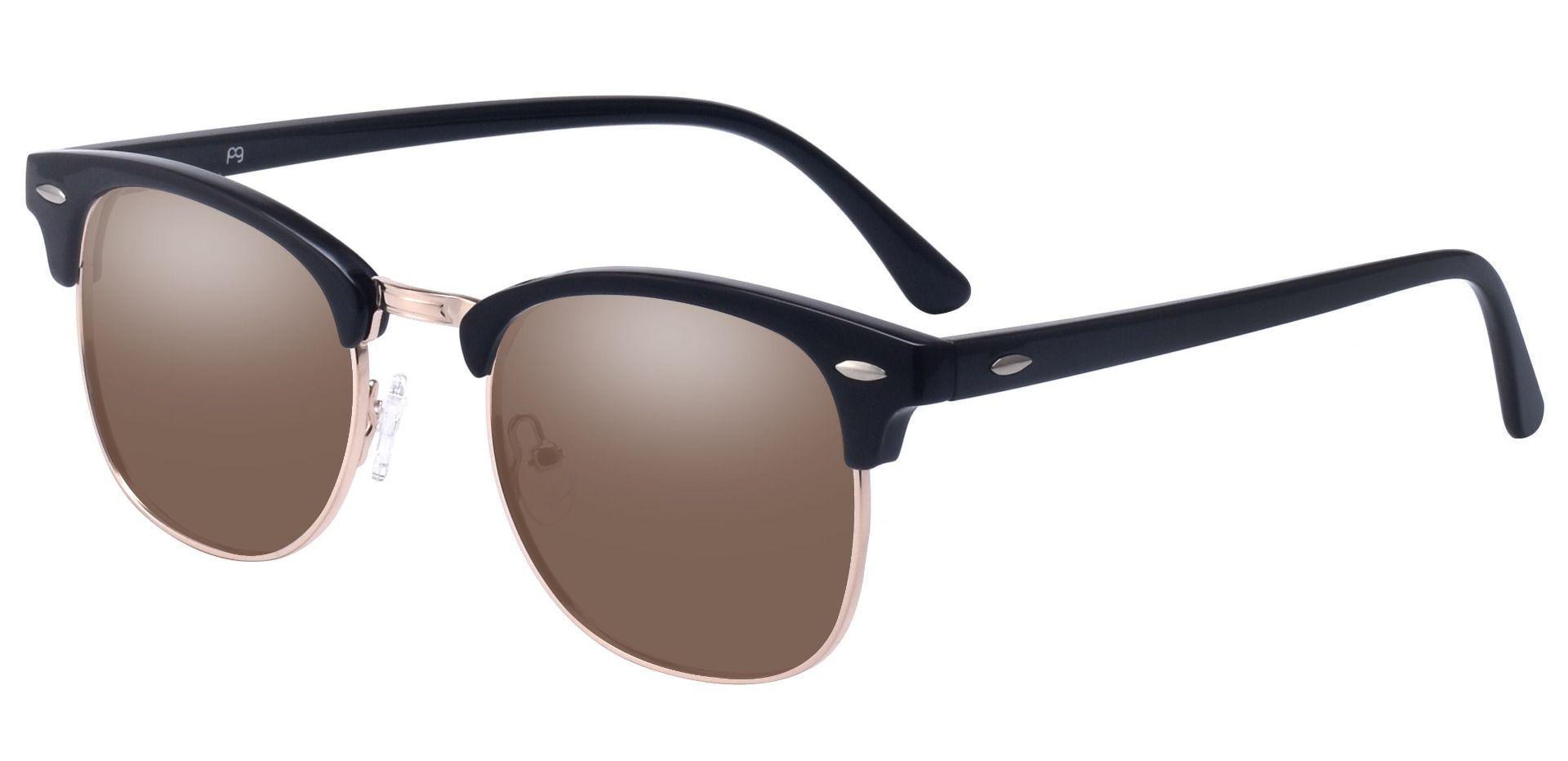 Salvatore Browline Prescription Sunglasses - Black Frame With Brown Lenses