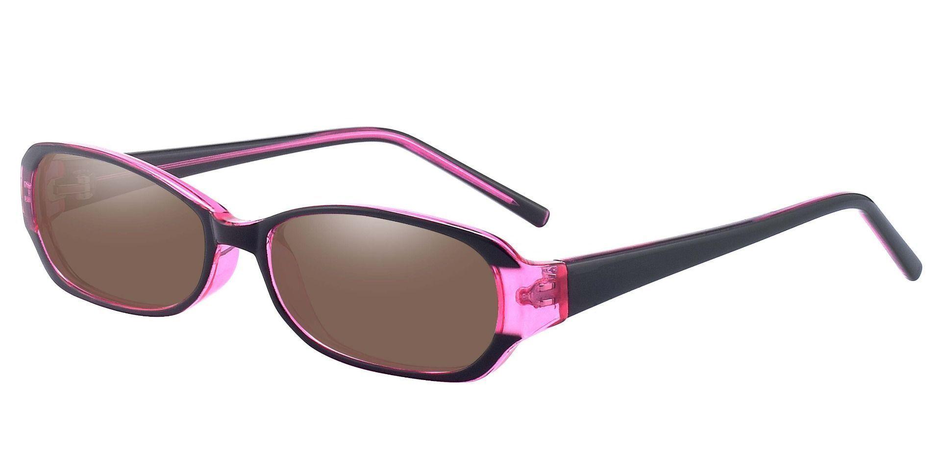 Nairobi Oval Single Vision Sunglasses -  Purple Frame With Brown Lenses