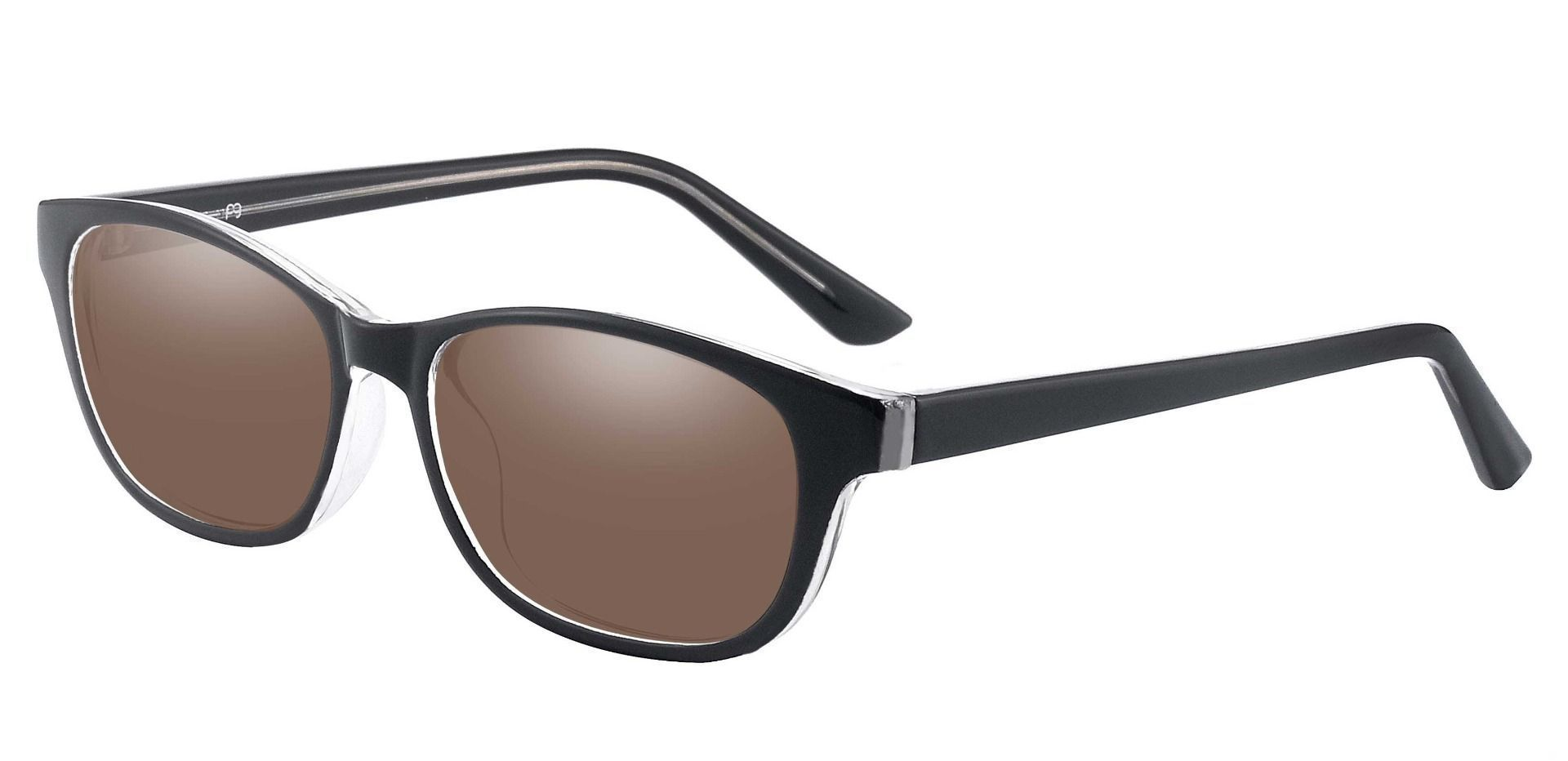 Reyna Classic Square Prescription Sunglasses - Black Frame With Brown Lenses
