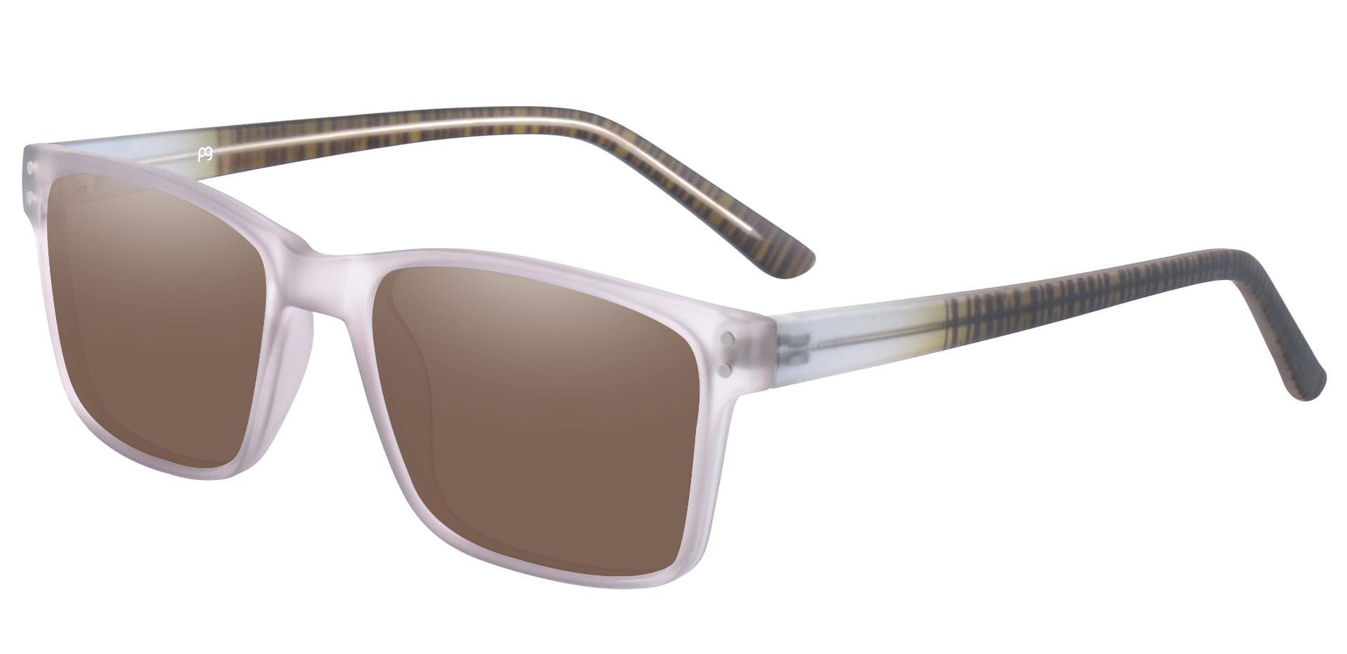 Royal Rectangle Prescription Sunglasses - Gray Frame With Brown Lenses