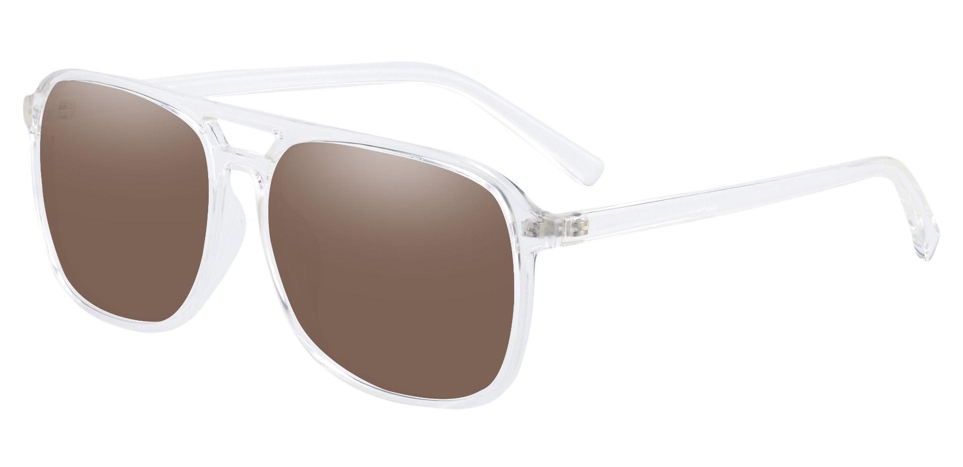 Edward Aviator Prescription Sunglasses -  Clear Frame With Brown Lenses