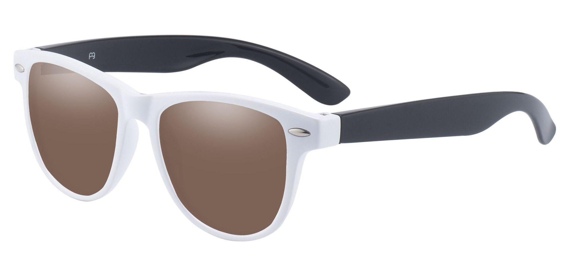 Radio Square Prescription Sunglasses - White Frame With Brown Lenses