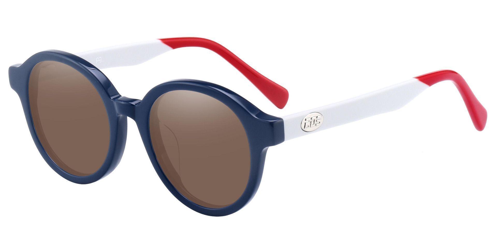 Roxbury Round Progressive Sunglasses - Blue Frame With Brown Lenses