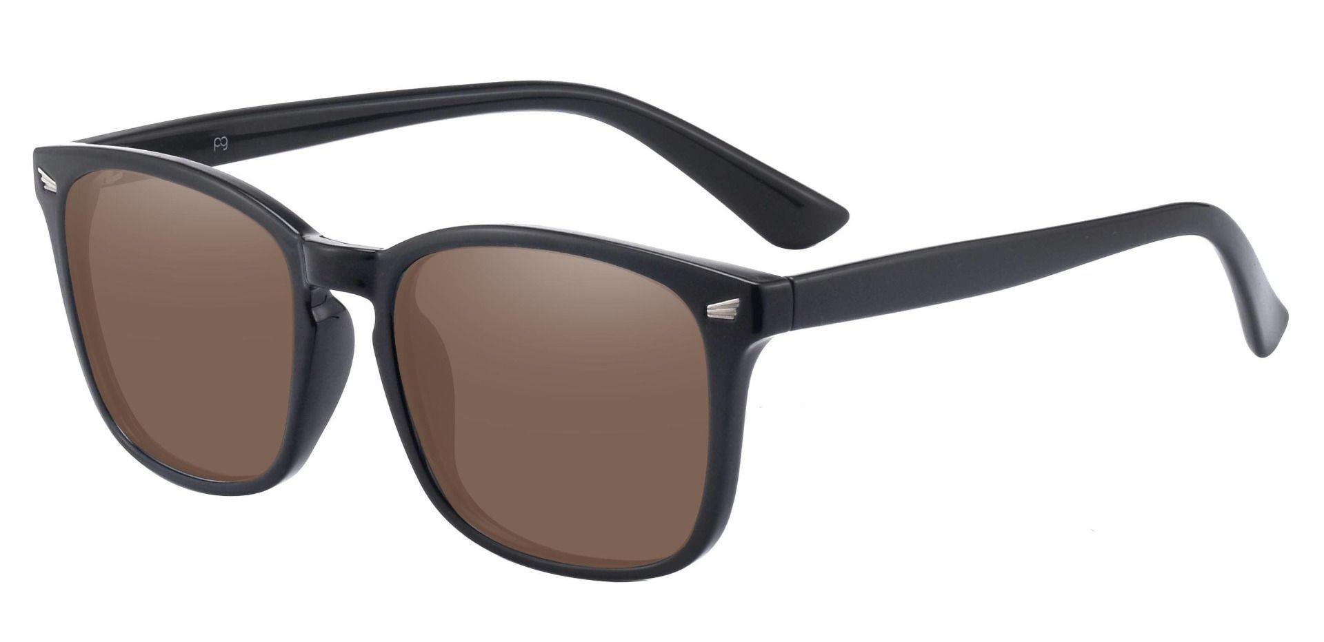 Zen Square Prescription Sunglasses - Black Frame With Brown Lenses