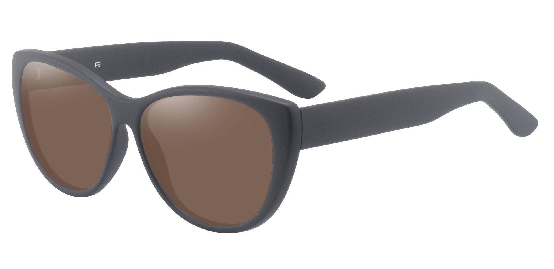Lynn Cat-Eye Prescription Sunglasses - Black Frame With Brown Lenses