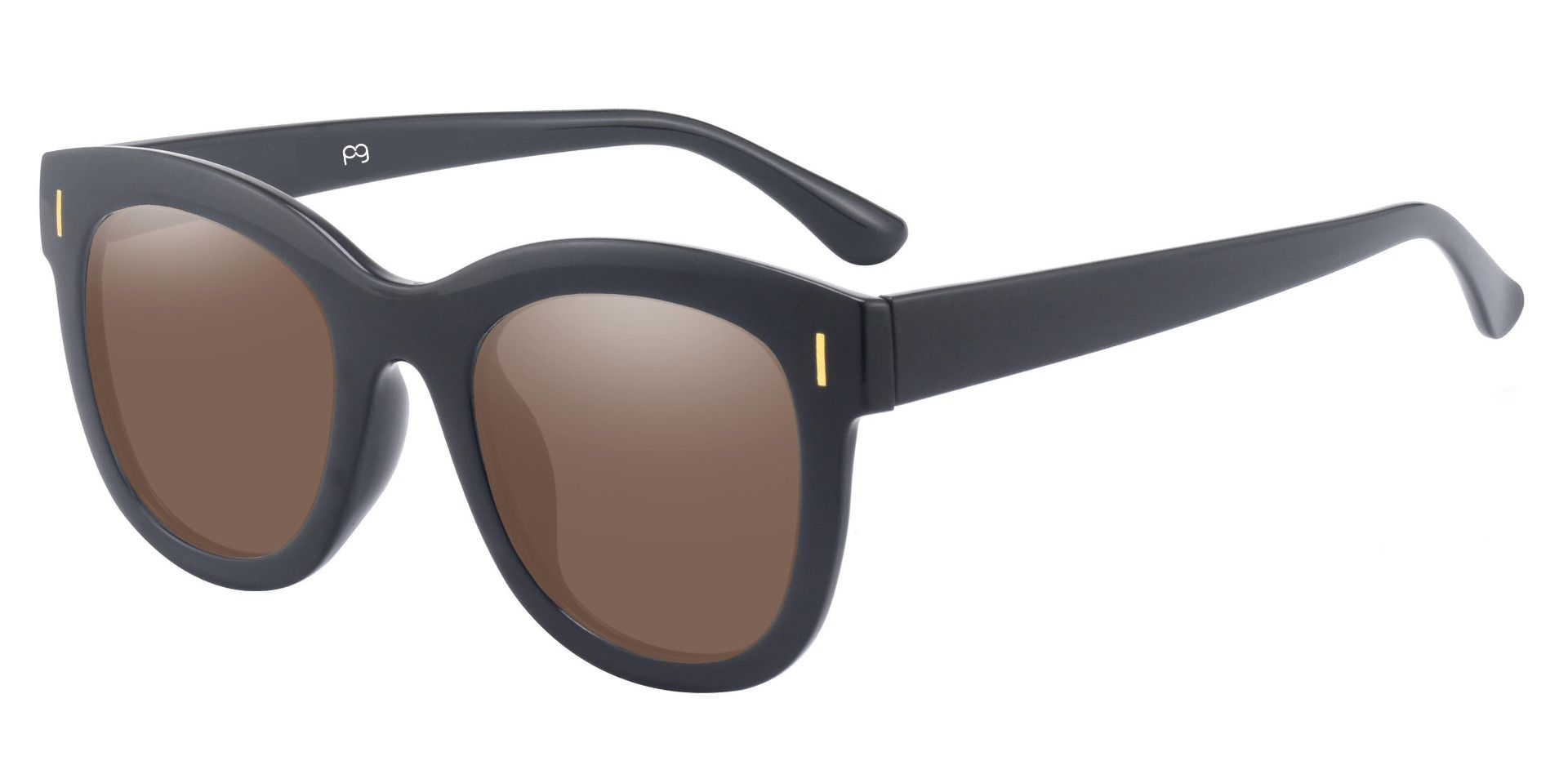 Saratoga Square Reading Sunglasses - Black Frame With Brown Lenses