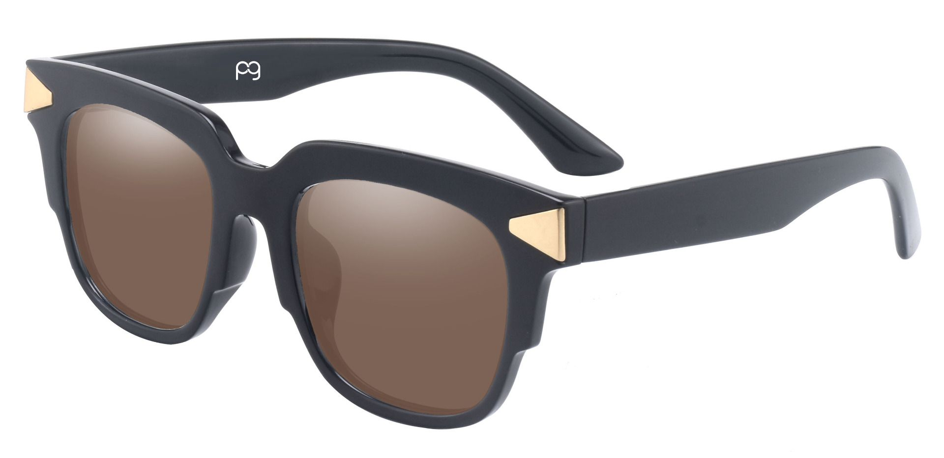 Ardent Square Prescription Sunglasses - Black Frame With Brown Lenses