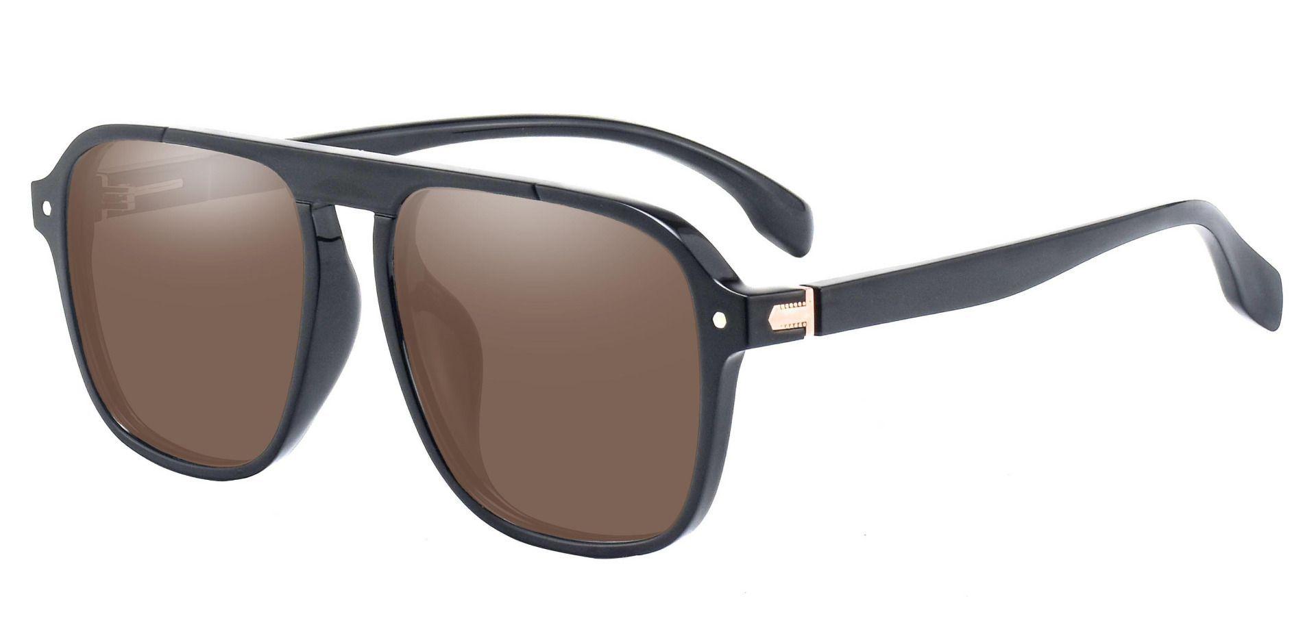 Gideon Aviator Non-Rx Sunglasses - Black Frame With Brown Lenses