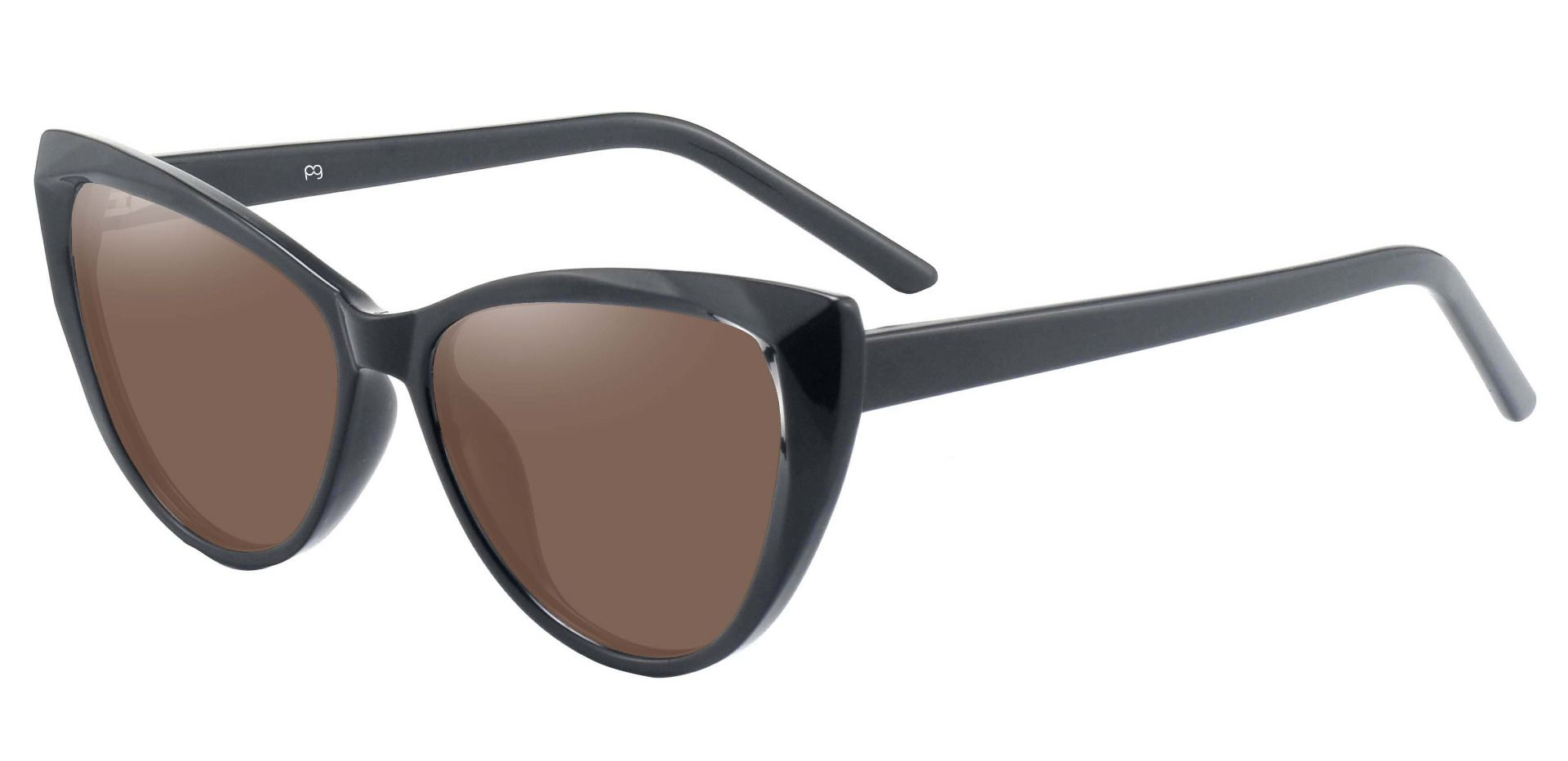 Ireland Cat Eye Non-Rx Sunglasses - Black Frame With Brown Lenses
