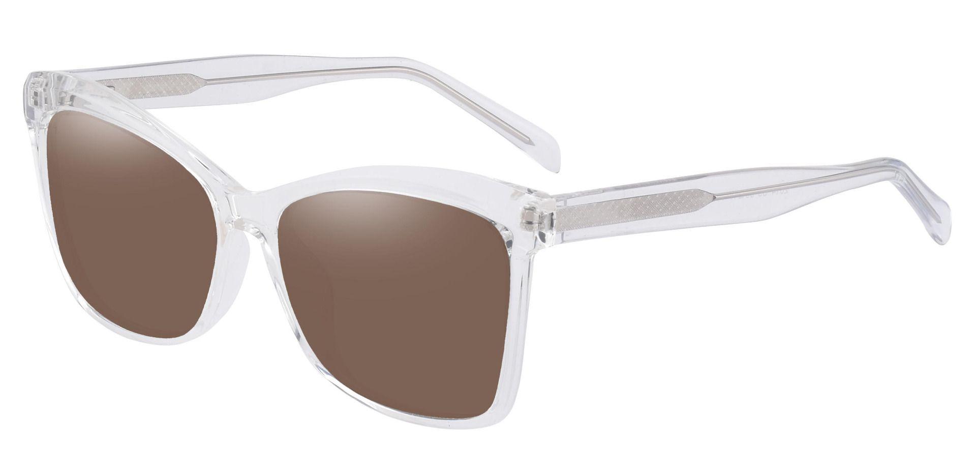 Lexi Cat Eye Progressive Sunglasses - Clear Frame With Brown Lenses