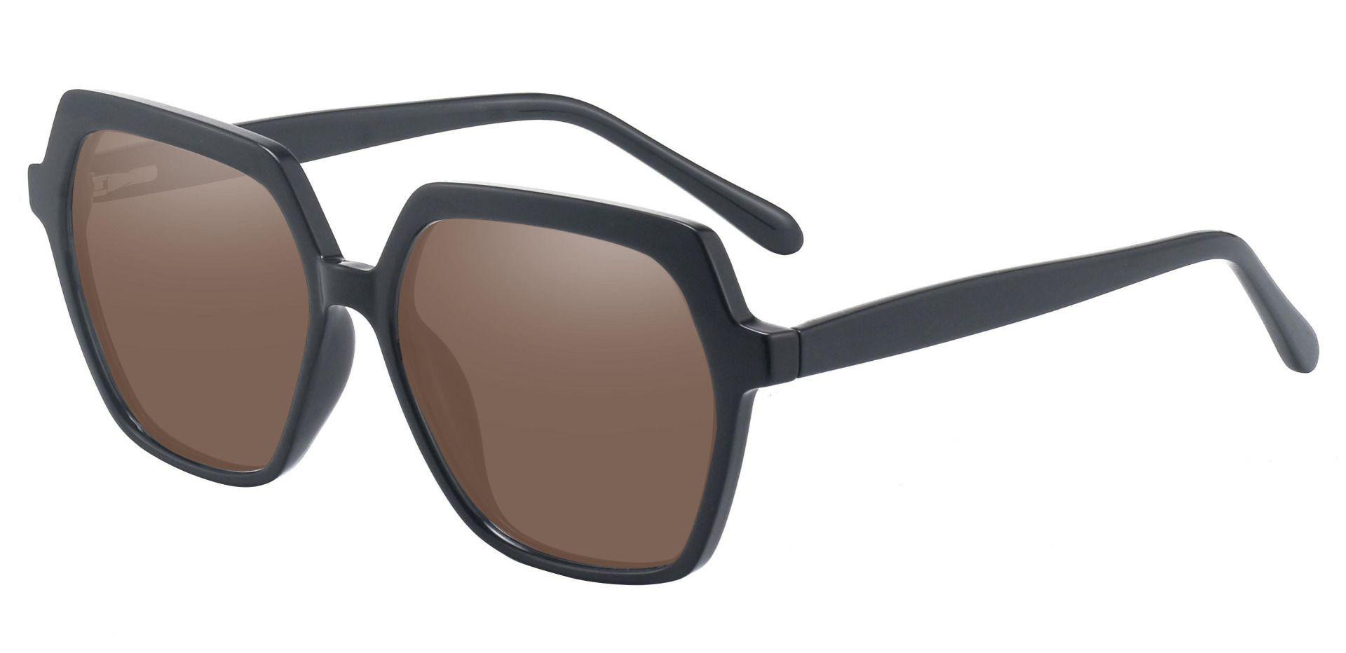 Regent Geometric Reading Sunglasses - Black Frame With Brown Lenses