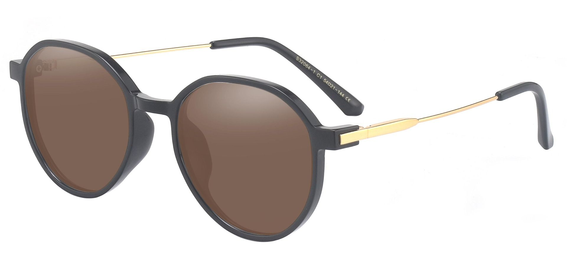 Daytona Geometric Prescription Sunglasses - Black Frame With Brown Lenses