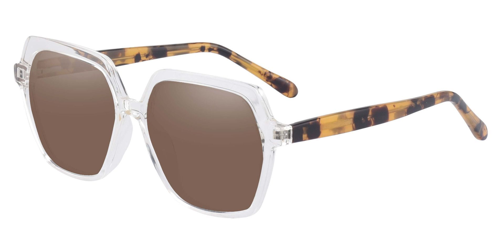 Regent Geometric Reading Sunglasses - Clear Frame With Brown Lenses