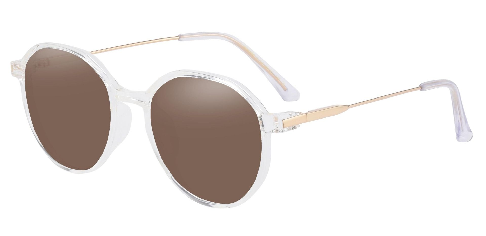 Daytona Geometric Reading Sunglasses - Clear Frame With Brown Lenses
