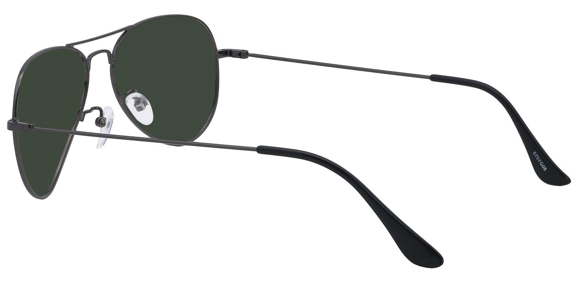 Memphis Aviator Single Vision Sunglasses - Gray Frame With Green Lenses