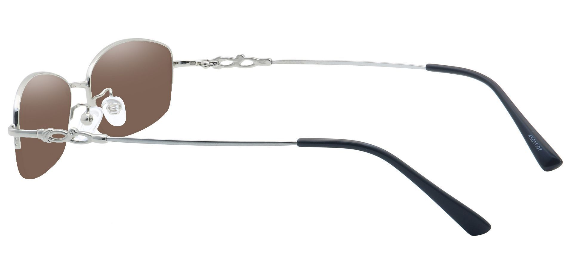 Meadowsweet Oval Prescription Sunglasses - Clear Frame With Brown Lenses