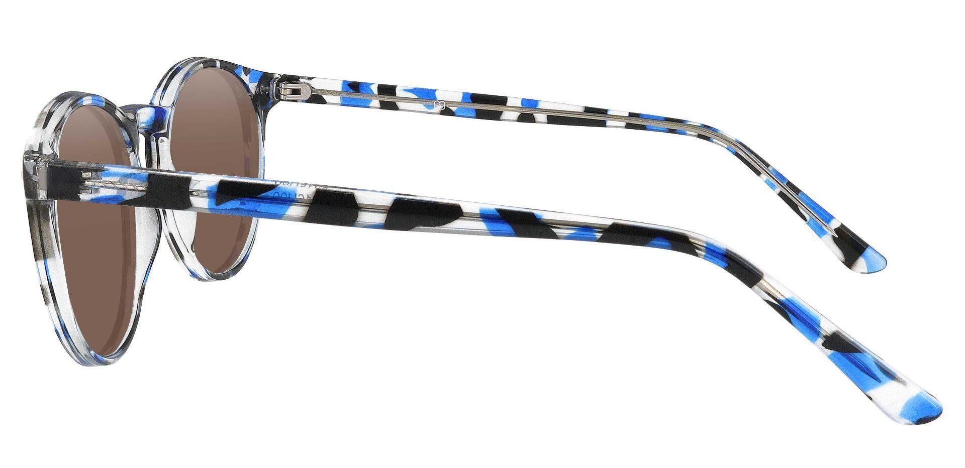 Dormont Round Prescription Sunglasses - Blue Frame With Brown Lenses