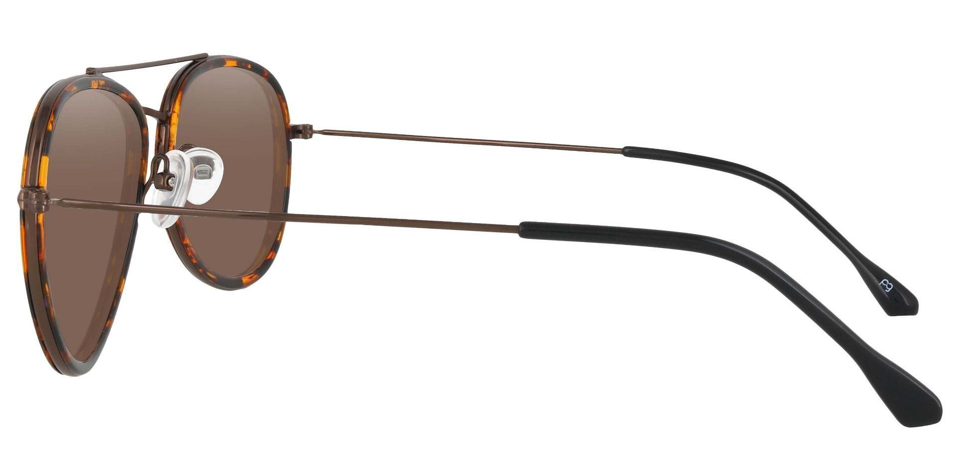 The King Aviator Single Vision Sunglasses - Tortoise Frame With Brown Lenses