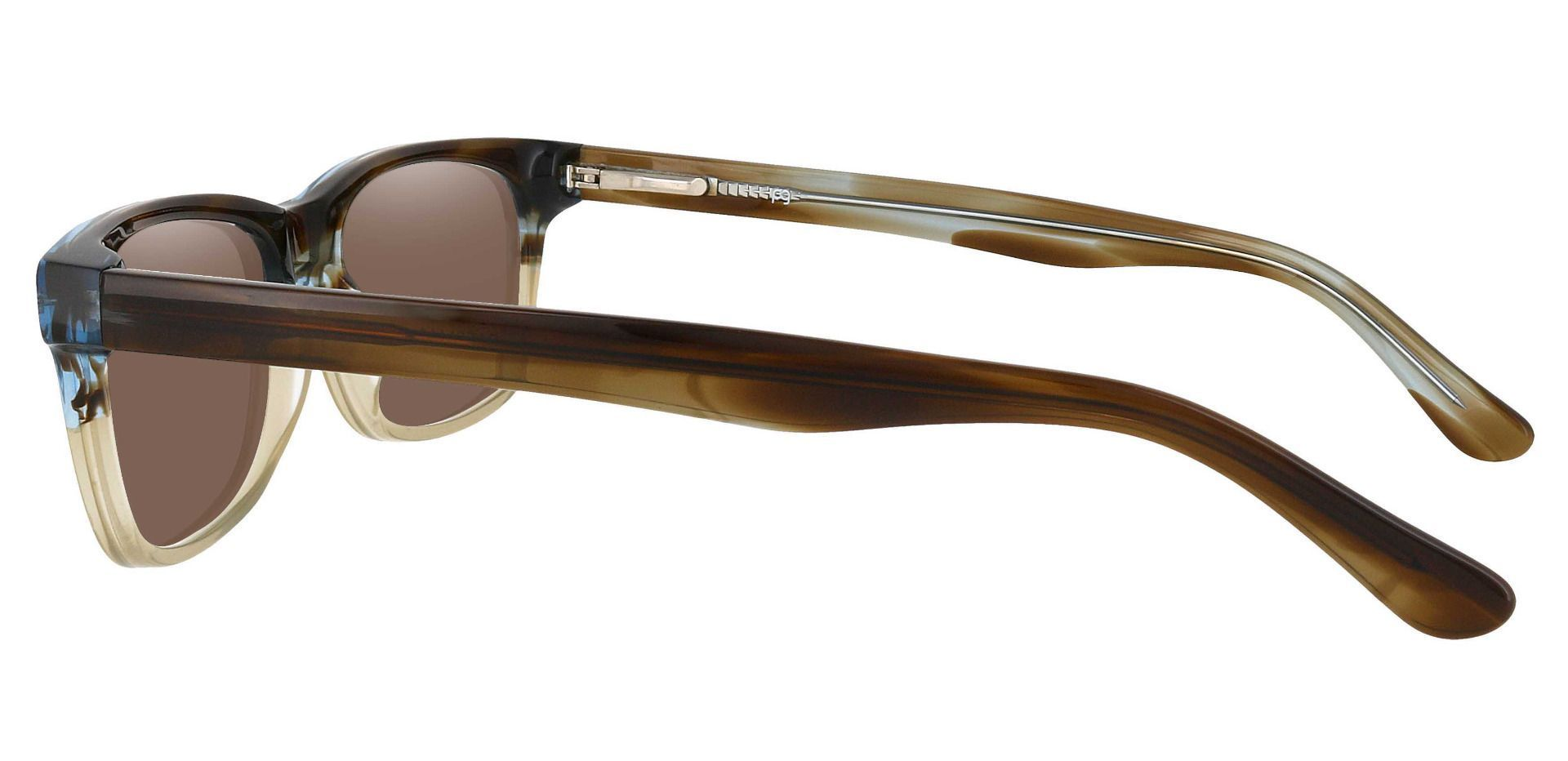 Hendrix Rectangle Prescription Sunglasses - Multi Color Frame With Brown Lenses