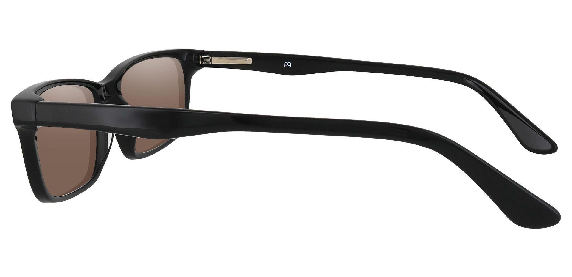 Hendrix Rectangle Non-Rx Sunglasses - Black Frame With Brown Lenses