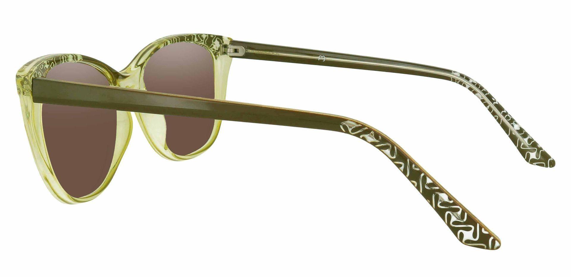 Alberta Cat Eye Progressive Sunglasses - Green Frame With Brown Lenses