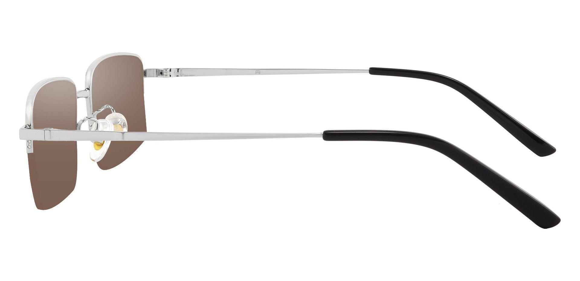Wayne Rectangle Prescription Sunglasses - Silver Frame With Brown Lenses