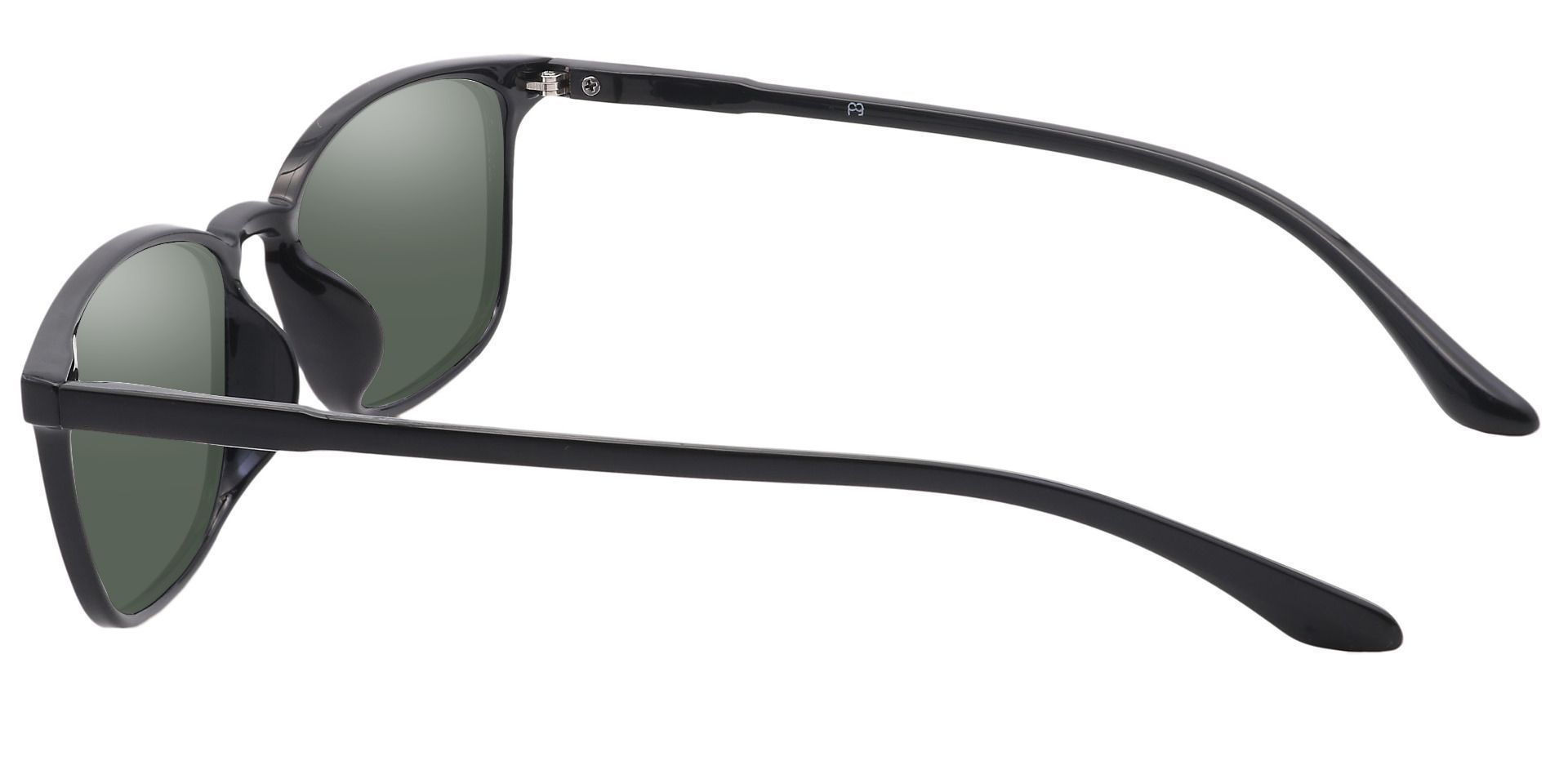 Cabo Oval Prescription Sunglasses - Black Frame With Green Lenses