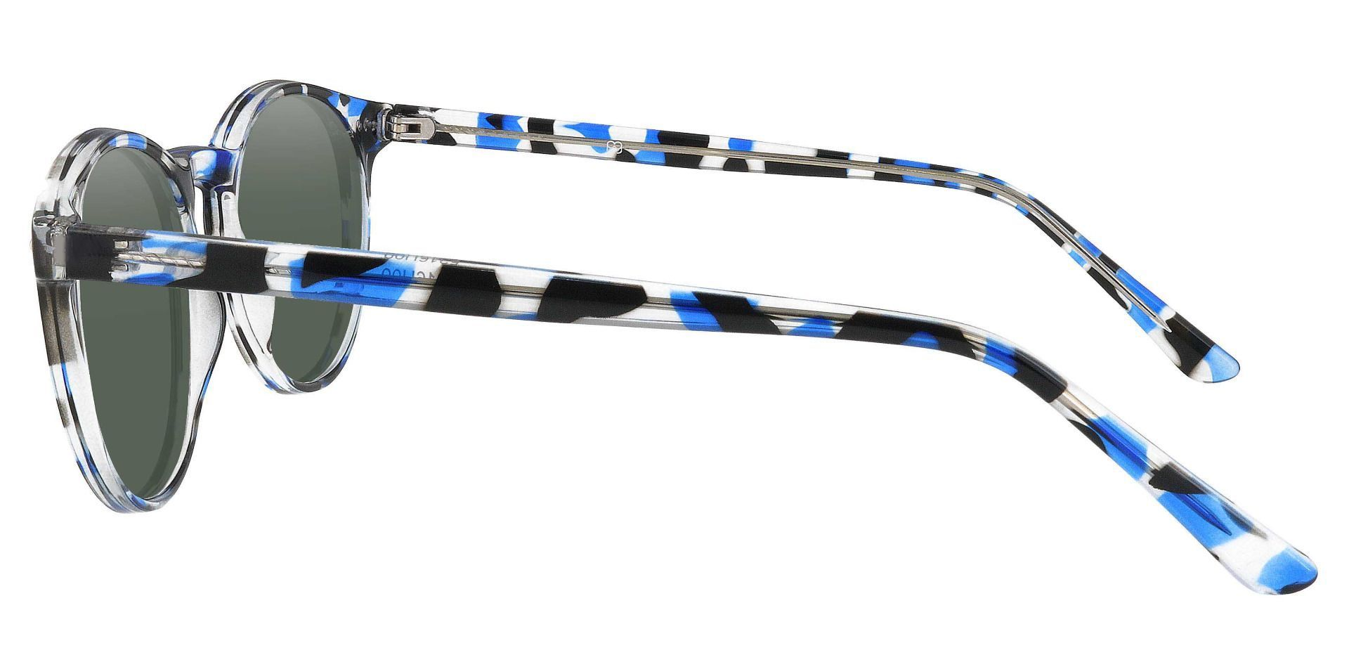 Dormont Round Prescription Sunglasses - Blue Frame With Green Lenses