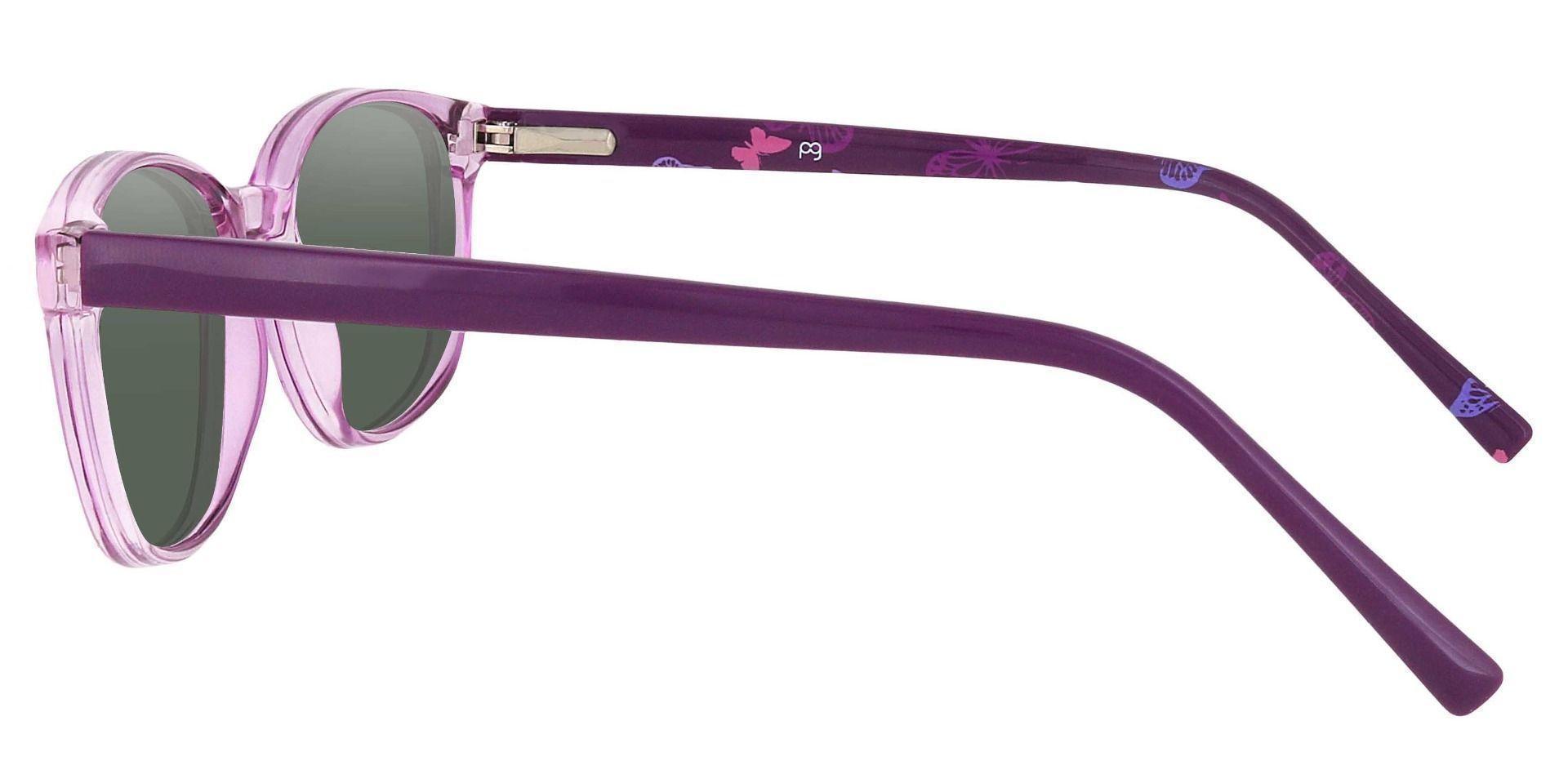 Branson Rectangle Prescription Sunglasses - Purple Frame With Green Lenses