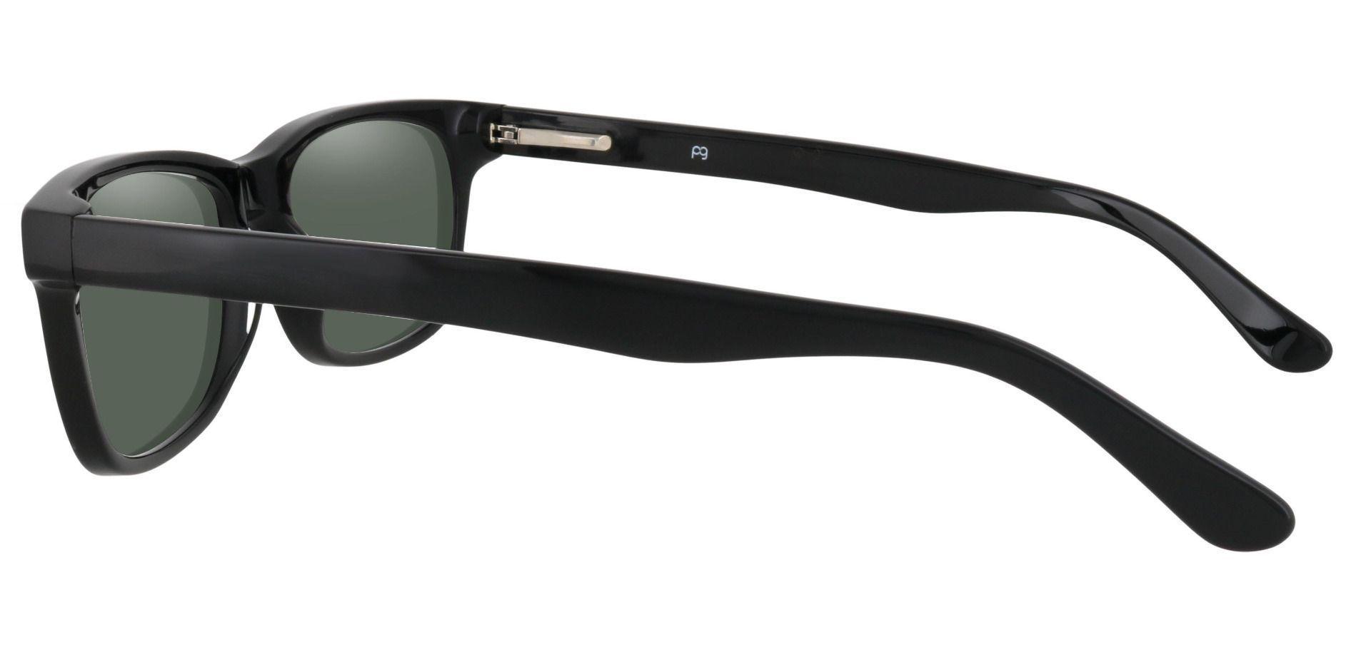 Hendrix Rectangle Reading Sunglasses - Black Frame With Green Lenses