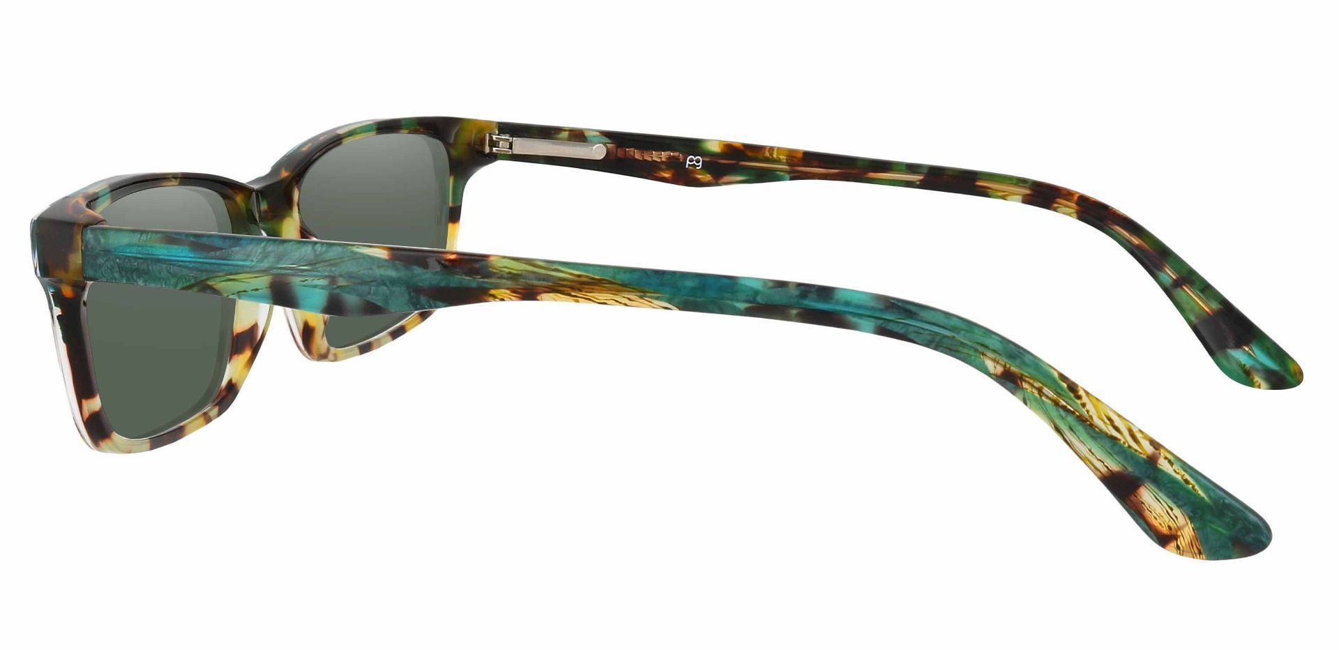 Hendrix Rectangle Non-Rx Sunglasses - Floral Frame With Green Lenses