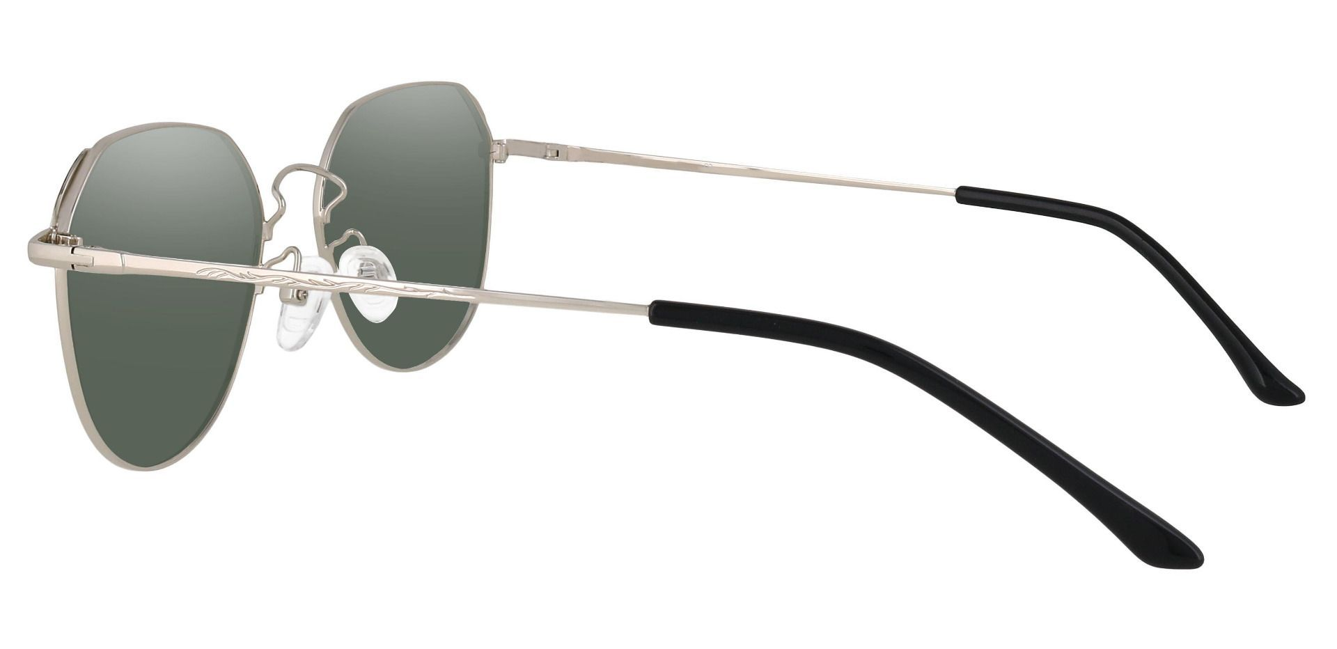 Figaro Geometric Reading Sunglasses - Silver Frame With Green Lenses